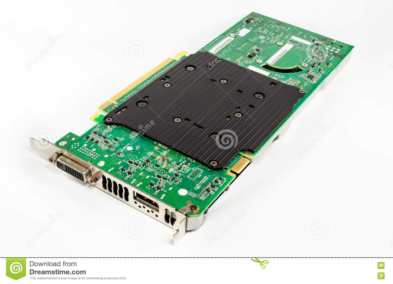 Hardware della carta grafica del computer Isolato su priorità bassa bianca