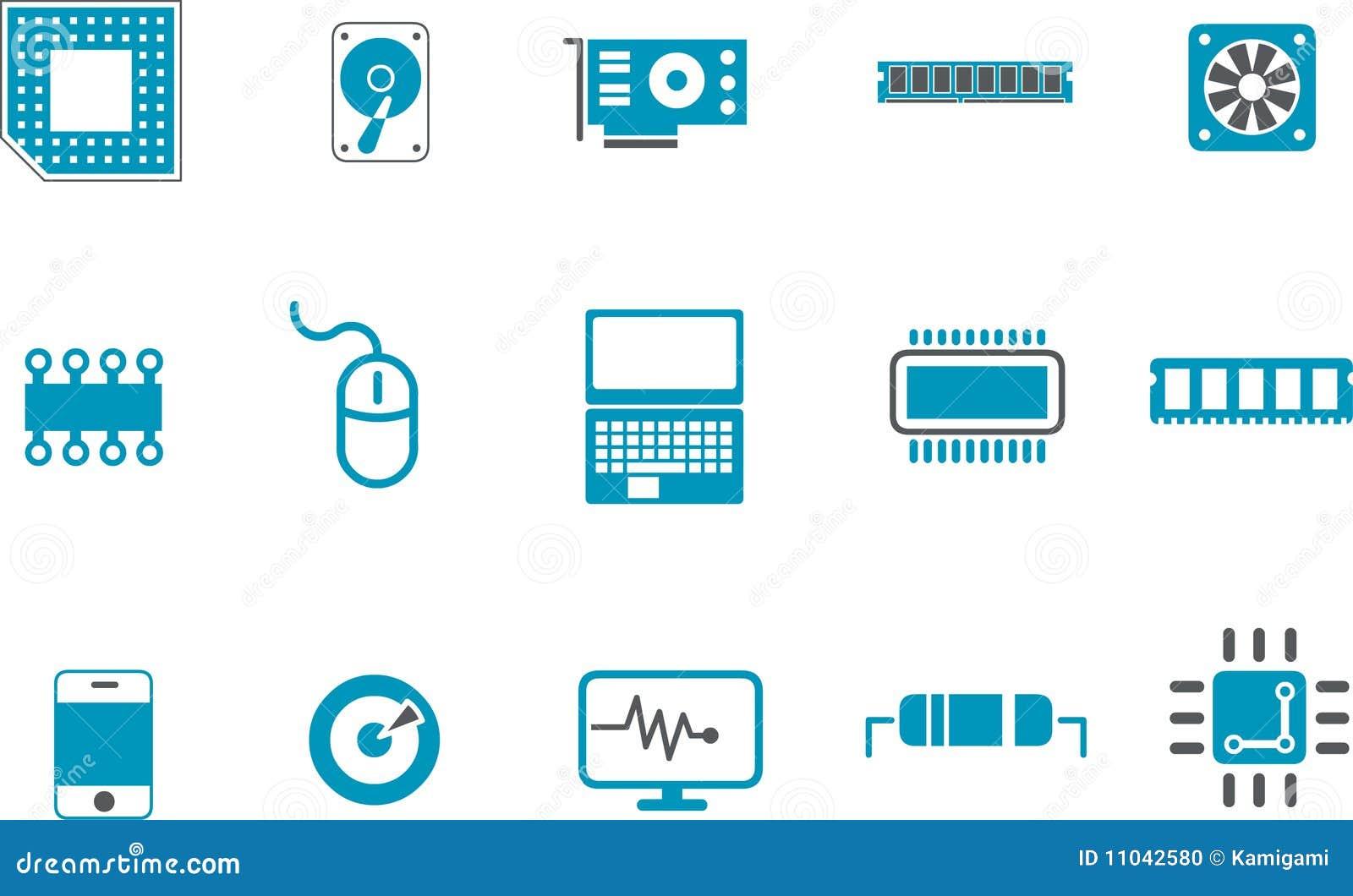 Hardware Icon Set Stock Illustration Image Of Component