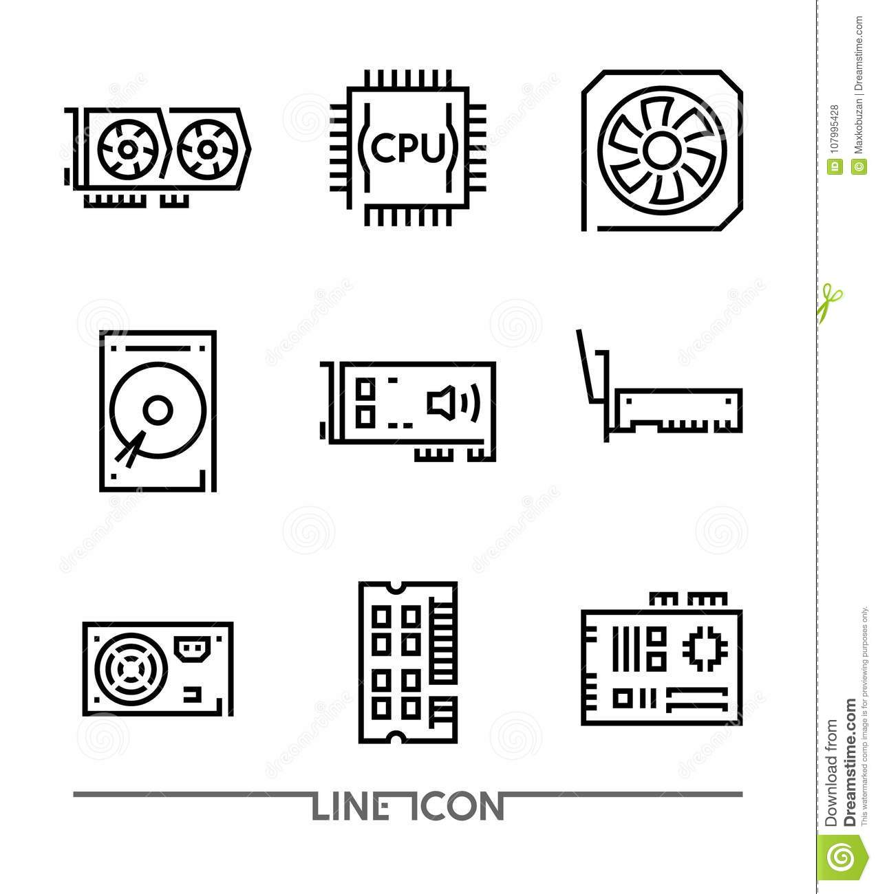 Hardware Icons; PC Upgrading Components thin line vector
