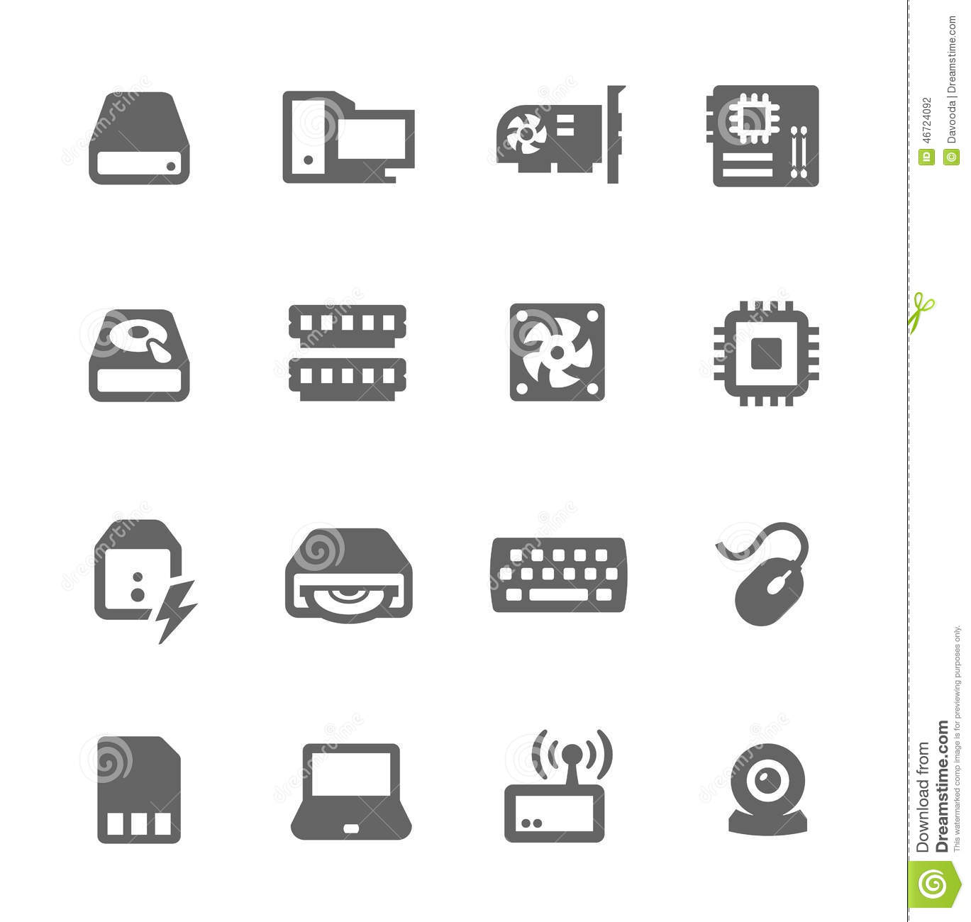 hardware icons stock vector  illustration of internet