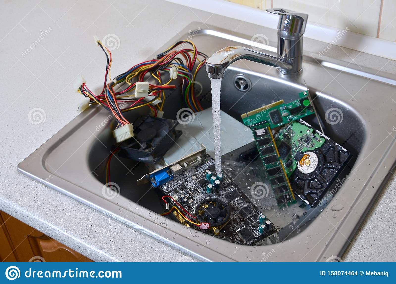Hardware In Kitchen Sink Under The Water Flow Computer Cleaning Metaphoric Concept Stock Photo Image Of Dishes Cool 158074464