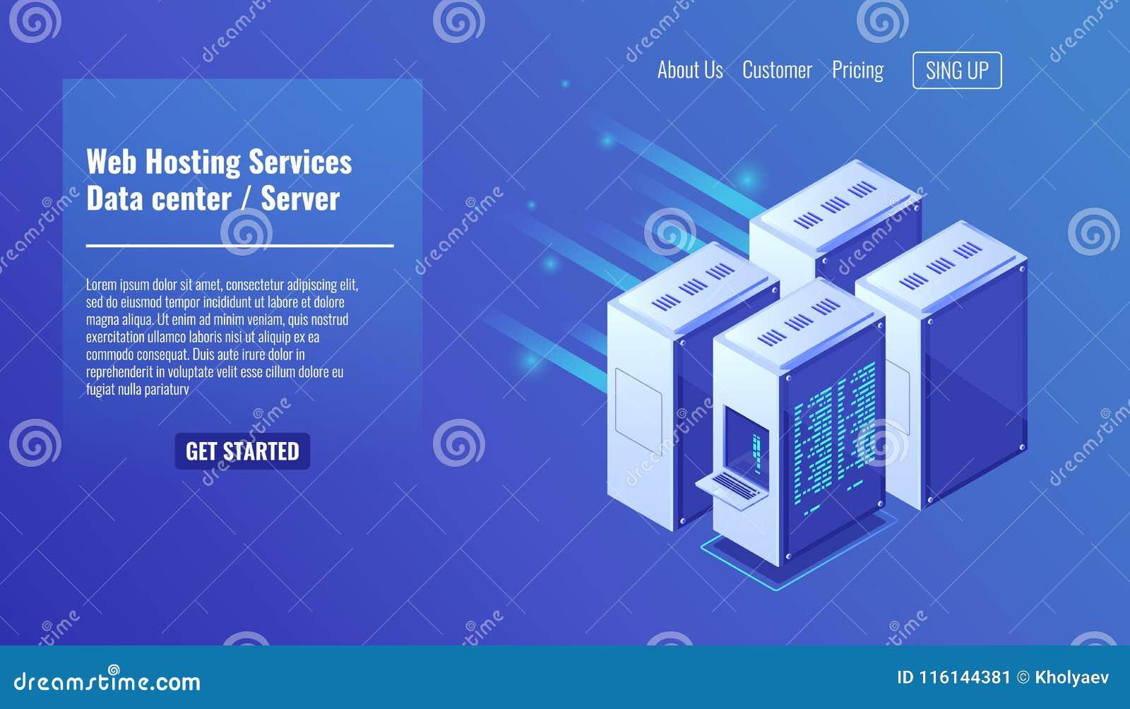 Hardware, scaffale della stanza del server, sito Web che ospita, illustrazione isometrica 3d di vettore di centro dati della base