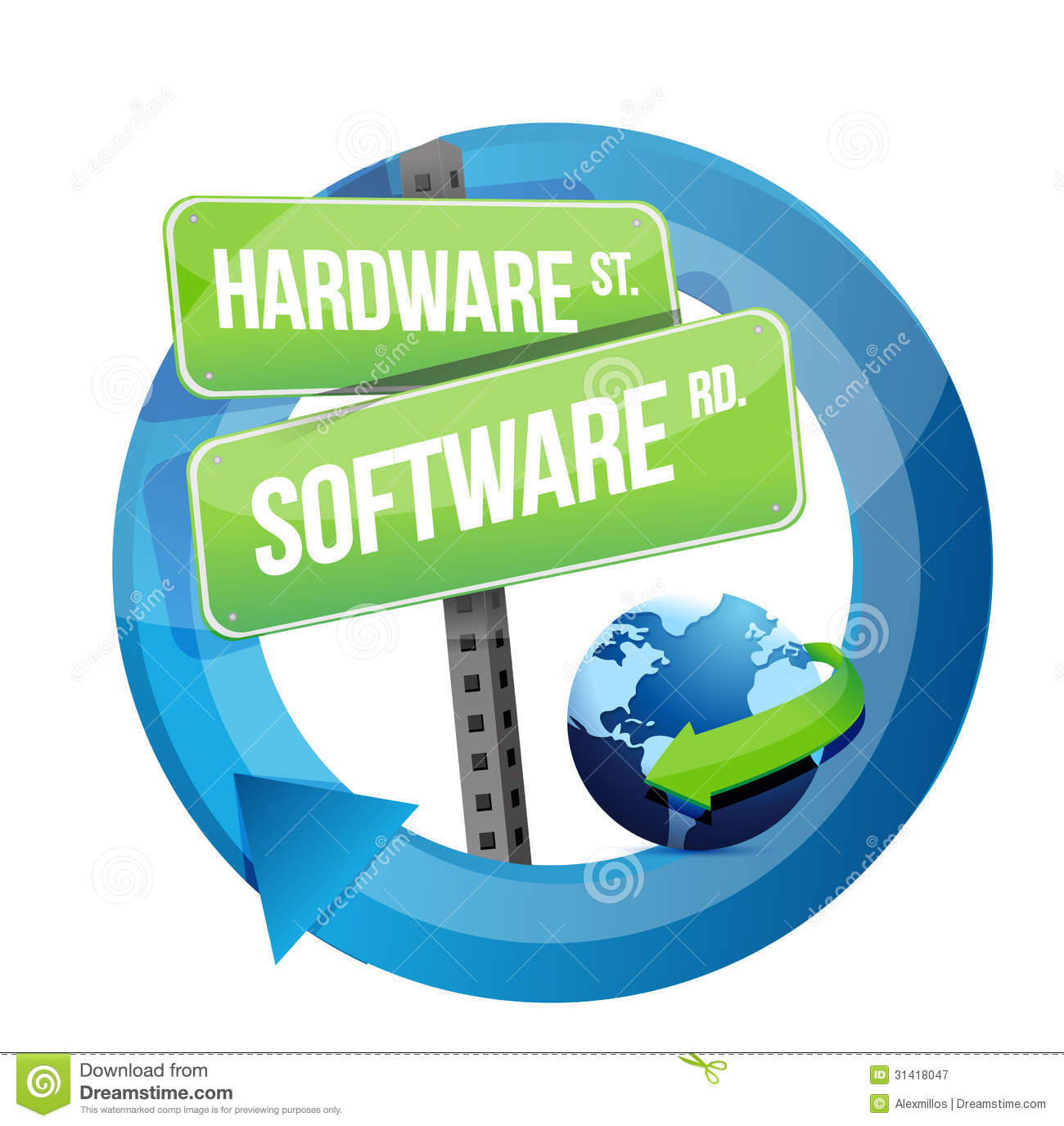 Hardware software road sign illustration design stock Computer art software