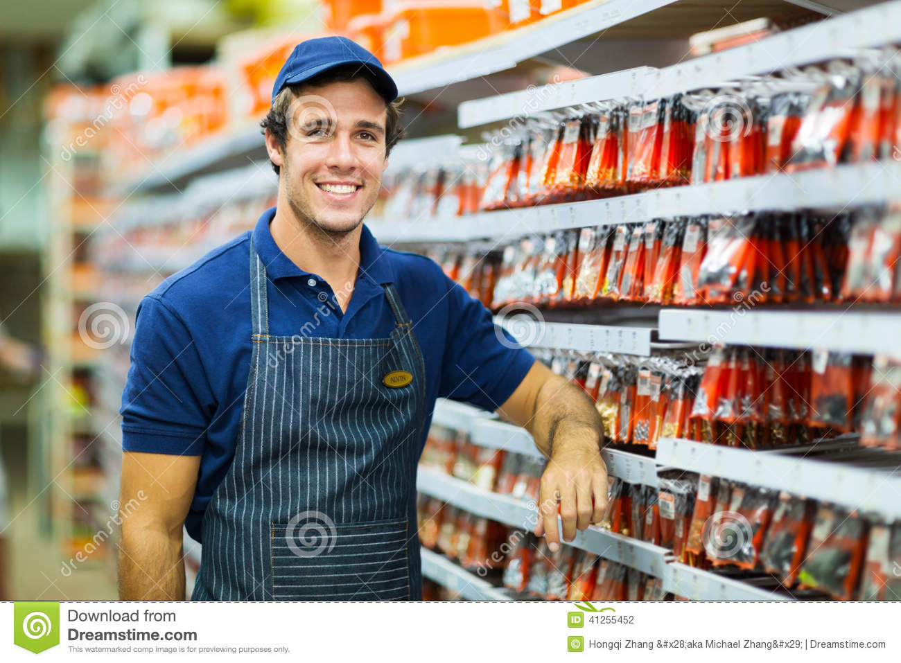 hardware store worker stock photo image  hardware store worker