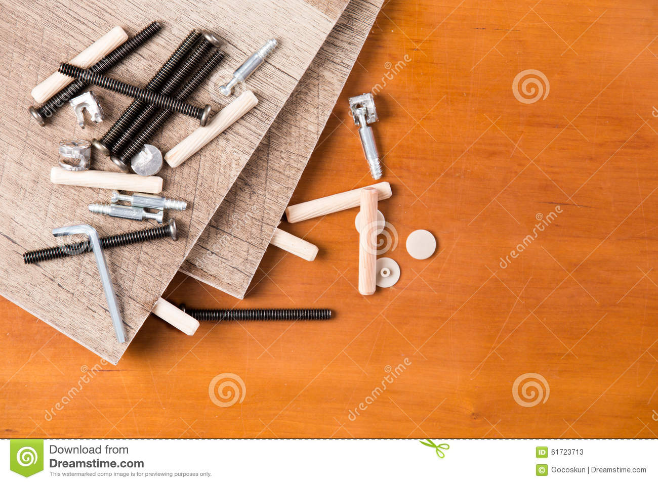 Hardware And Wood Planks For Furniture Assembly Stock