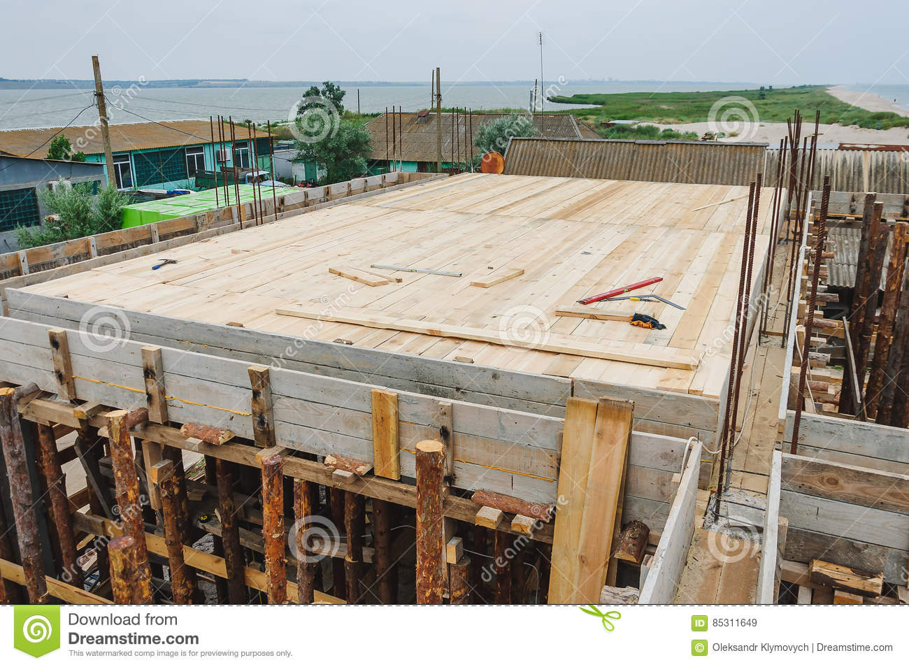 Hardwood Floors Under The Slab In Construction Stock Image Image