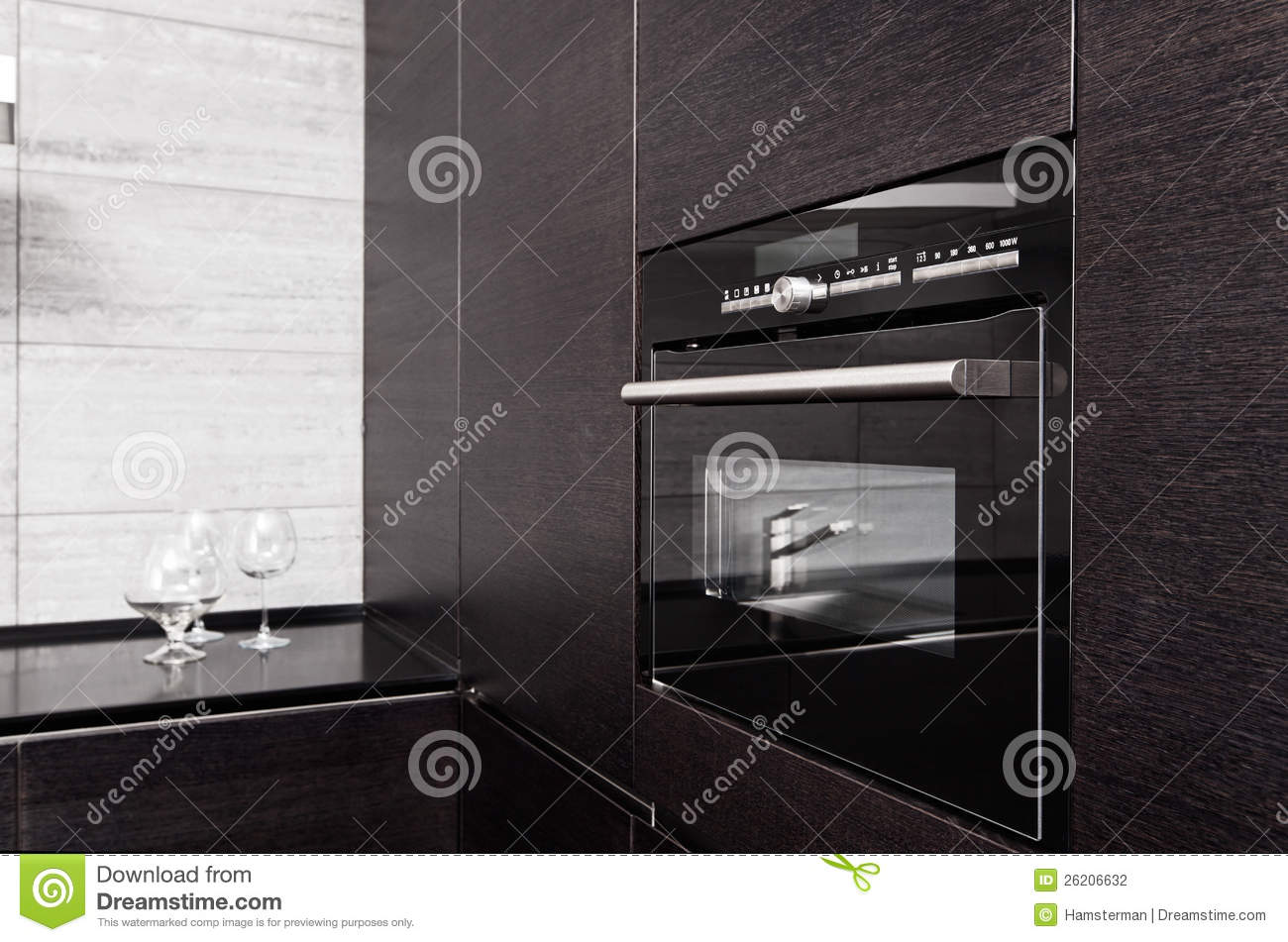 Hardwood kitchen with build-in microwave oven
