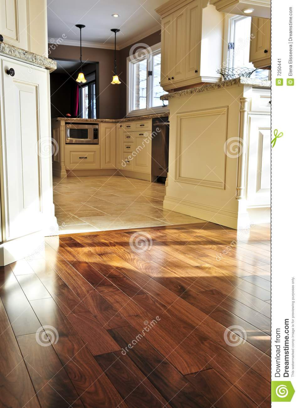 Hardwood And Tile Floor Stock Image Image 7250441