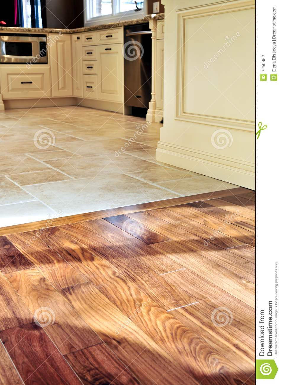 Hardwood and tile floor stock photography image 7250452 for Hardwood floor tile kitchen