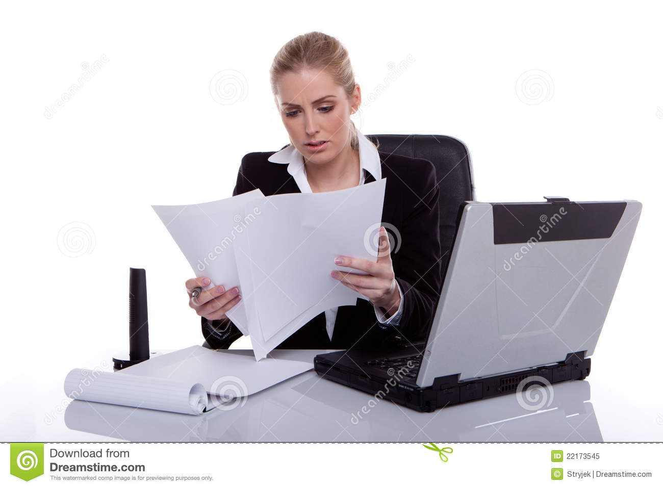 Hardworking Businesswoman Consulting Notes Royalty Free Stock Photo ...