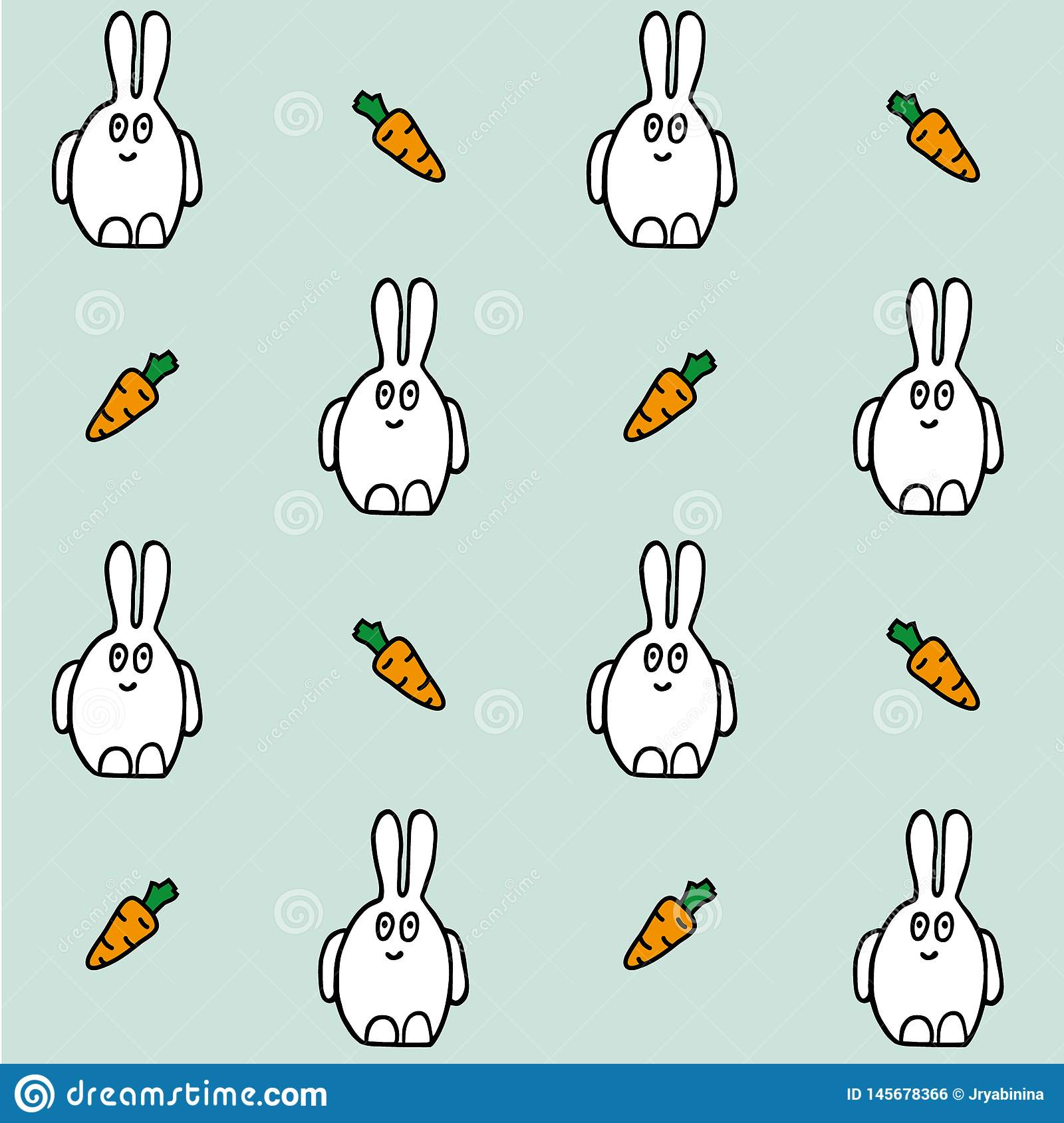 Hare with carrot. Seamless vector pattern. Hand drawing texture