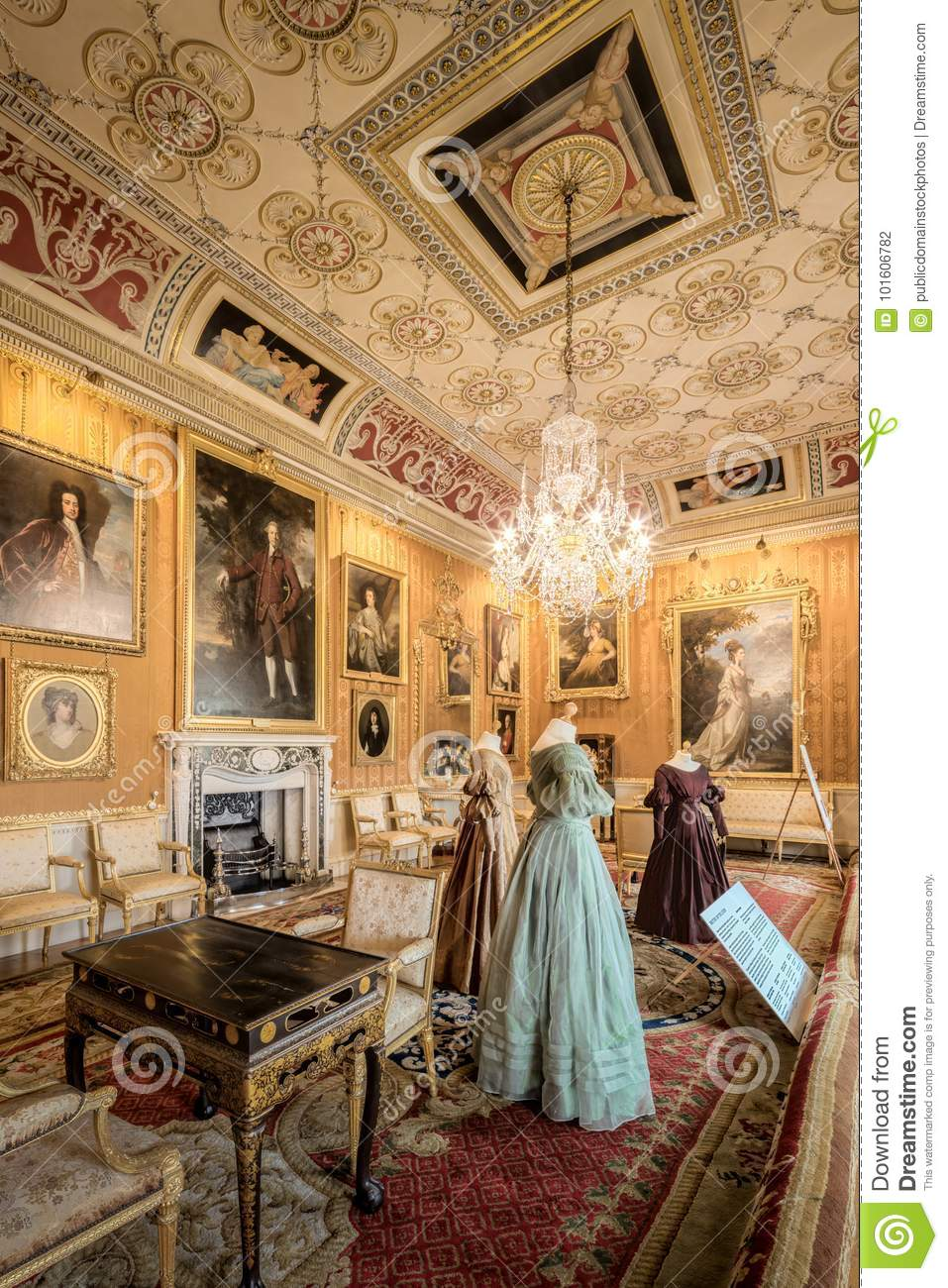 Inside House Drawing: Harewood House The Cinnamon Drawing Room Picture. Image