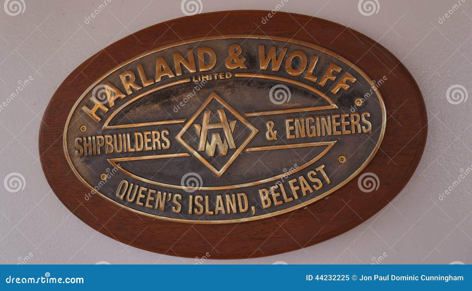 Harland & chapa dos construtores de navios de Wolff