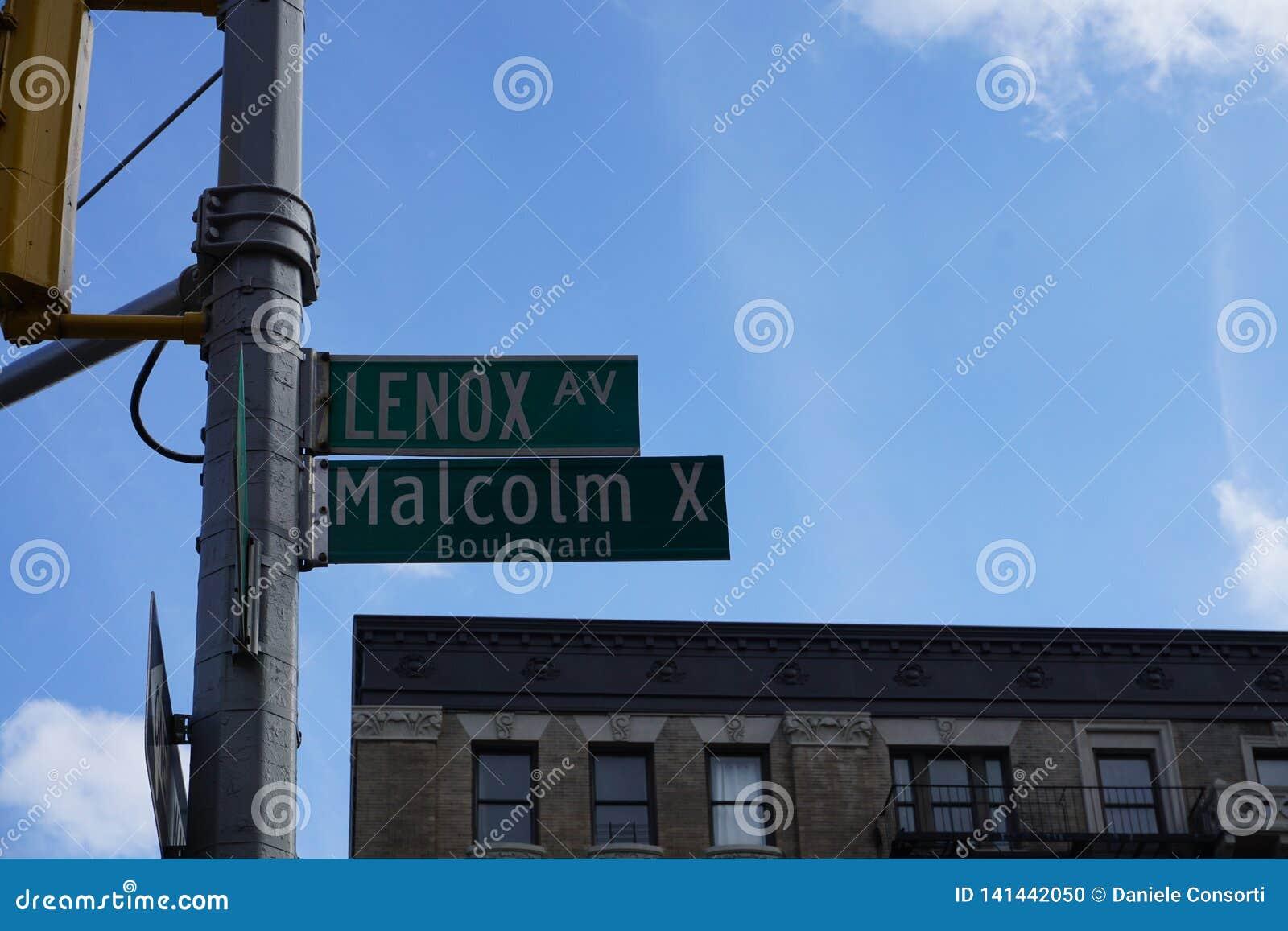 Harlem, Νέα Υόρκη, Malcolm Χ λεωφόρος και σημάδι οδών λεωφόρων Lenox