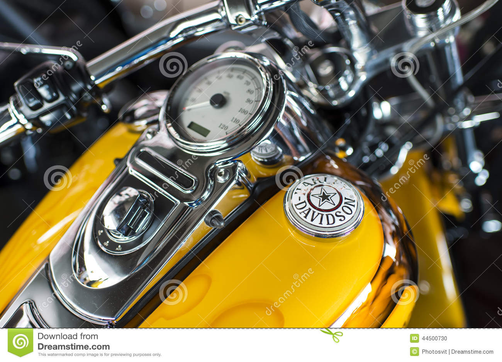 Harley Davidson motorcycle dashboard and speedometer detail