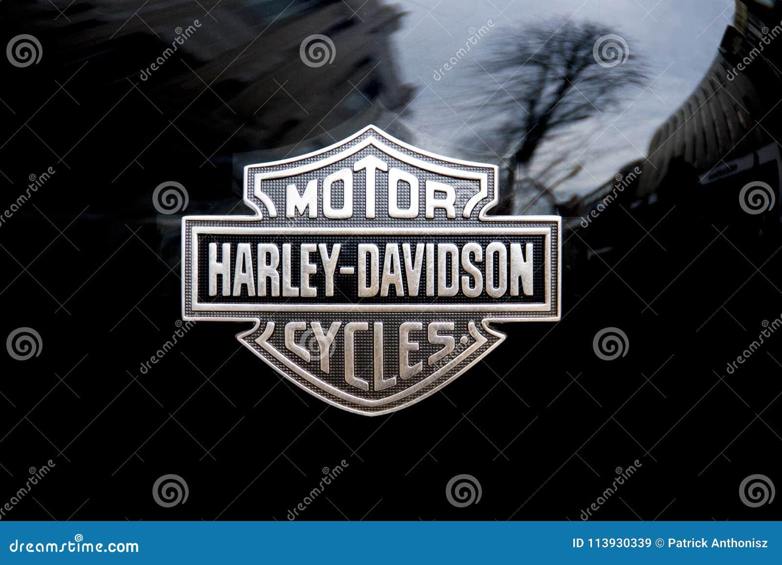 Logo Detail On Harley Davidson Motorcycle Editorial Stock Image
