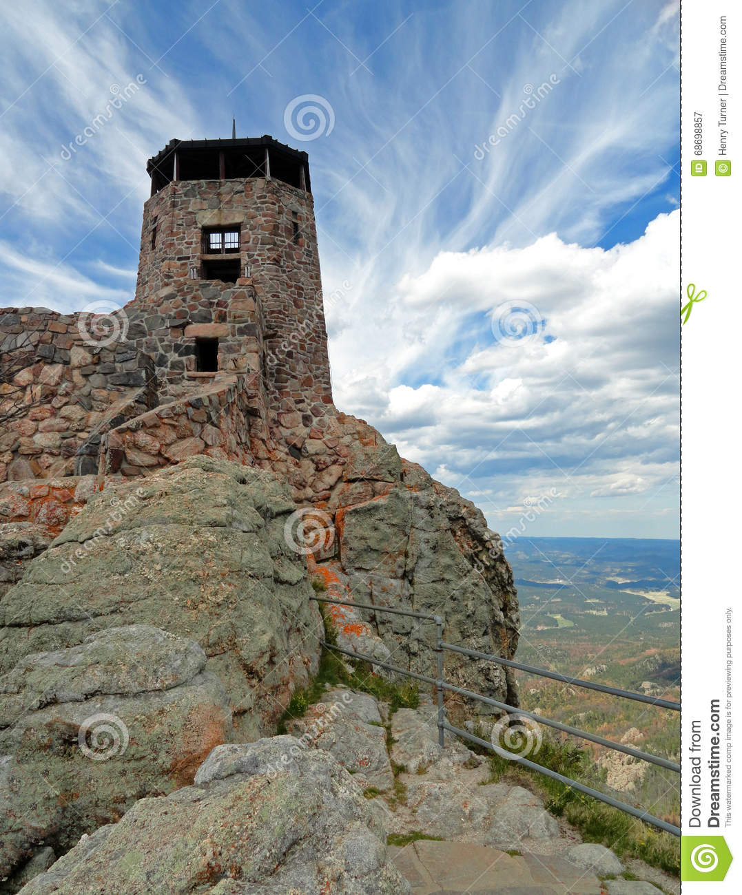 Black Elk Peak / Harney Peak Fire Lookout Tower in Custer State Park in Black Hills of South Dakota