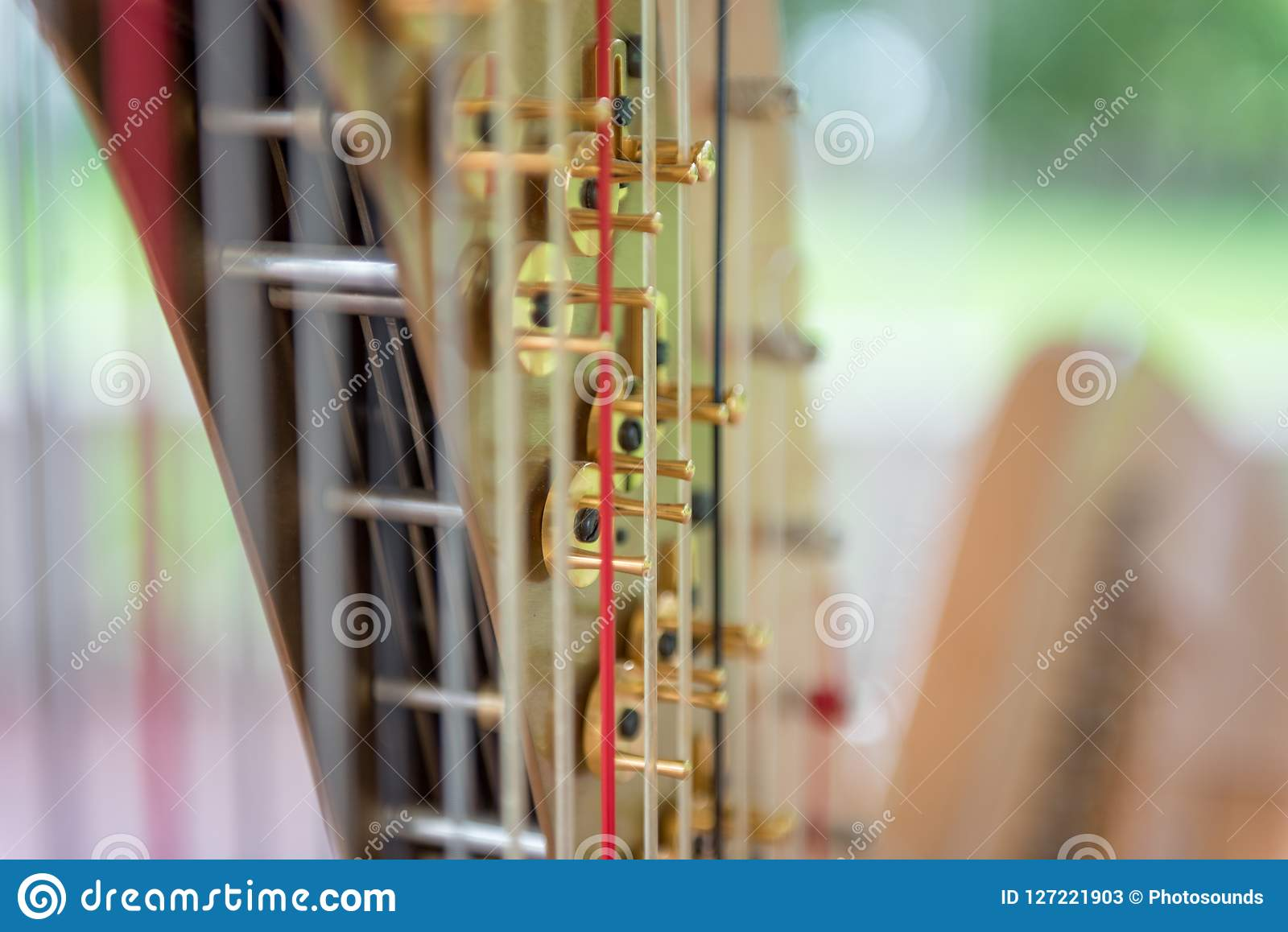 Harp Music Instrument And Strings With Shallow Depth Of
