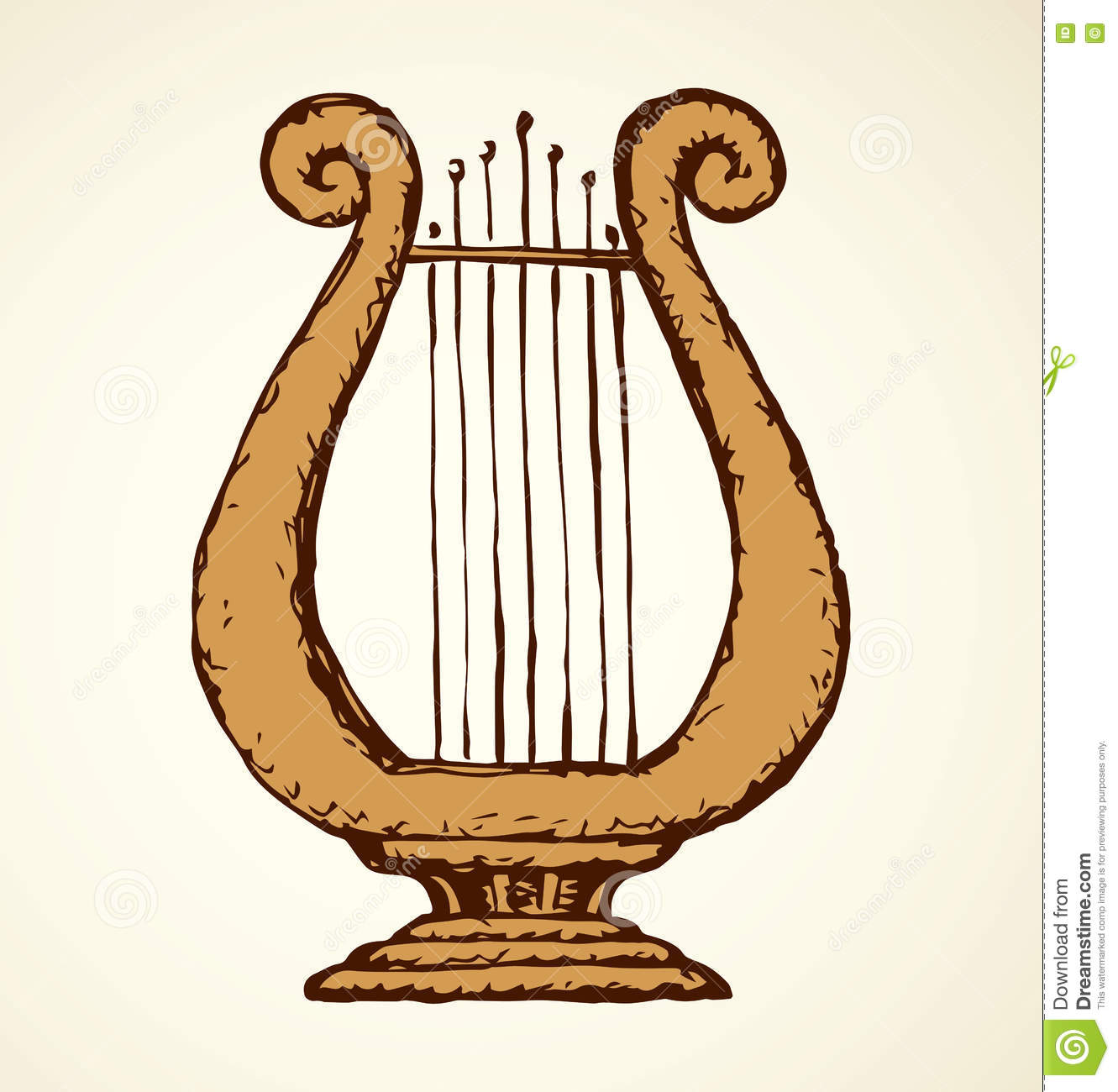 Harp. Vector drawing stock vector. Image of music ...