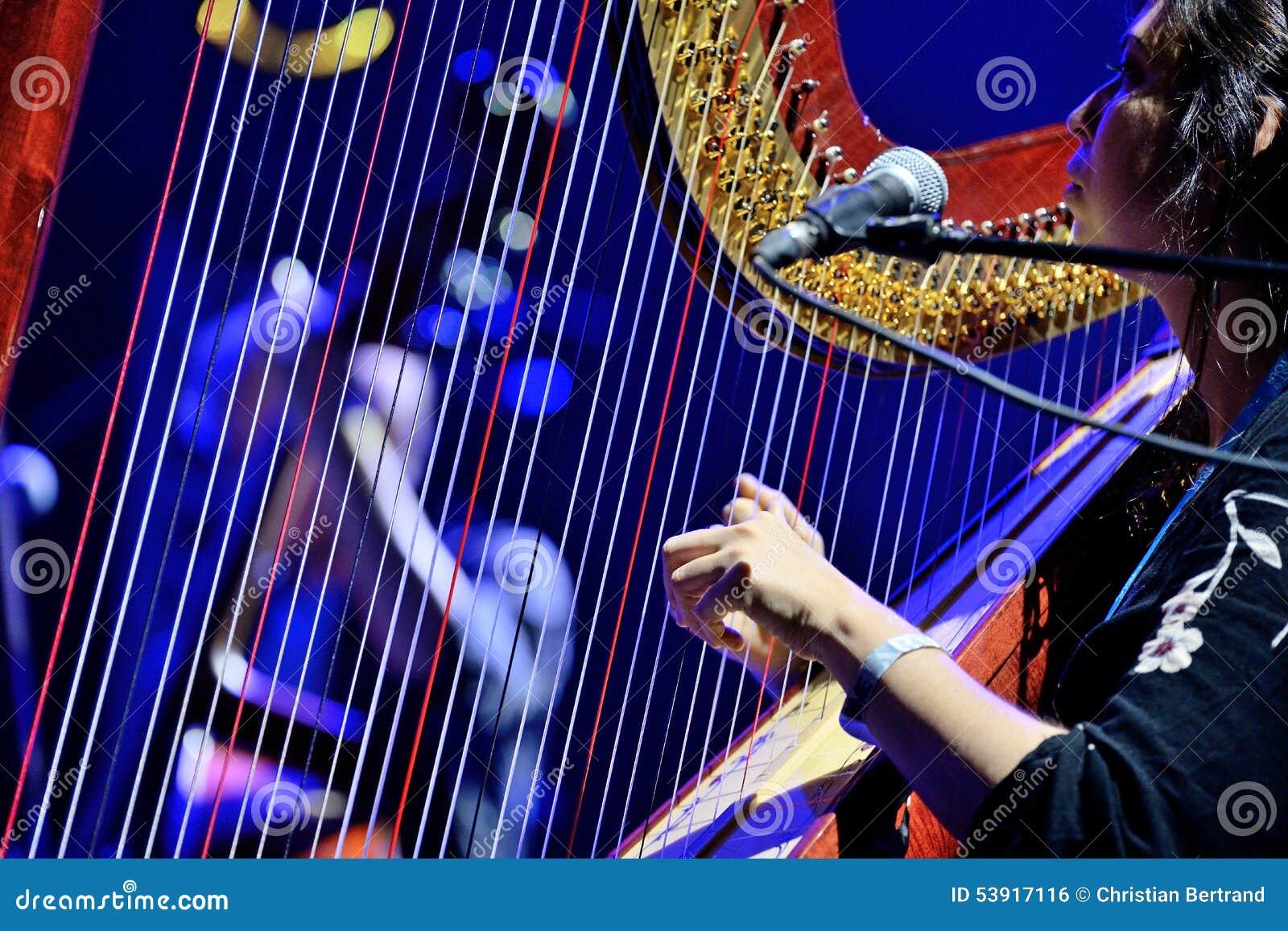 Harpspeler van levende prestaties de van barr brothers band bij bime festival redactionele - Fotos van levende ...