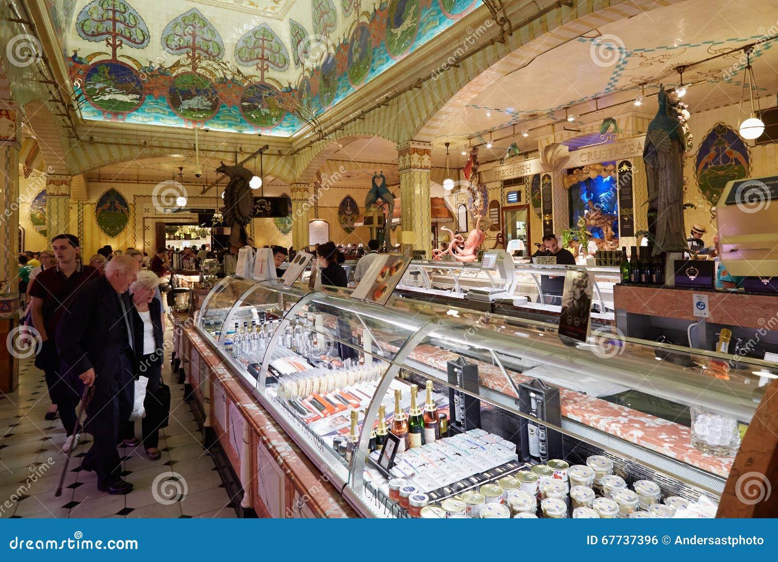 Harrods Department Store Interior, Food Area In London Editorial ...