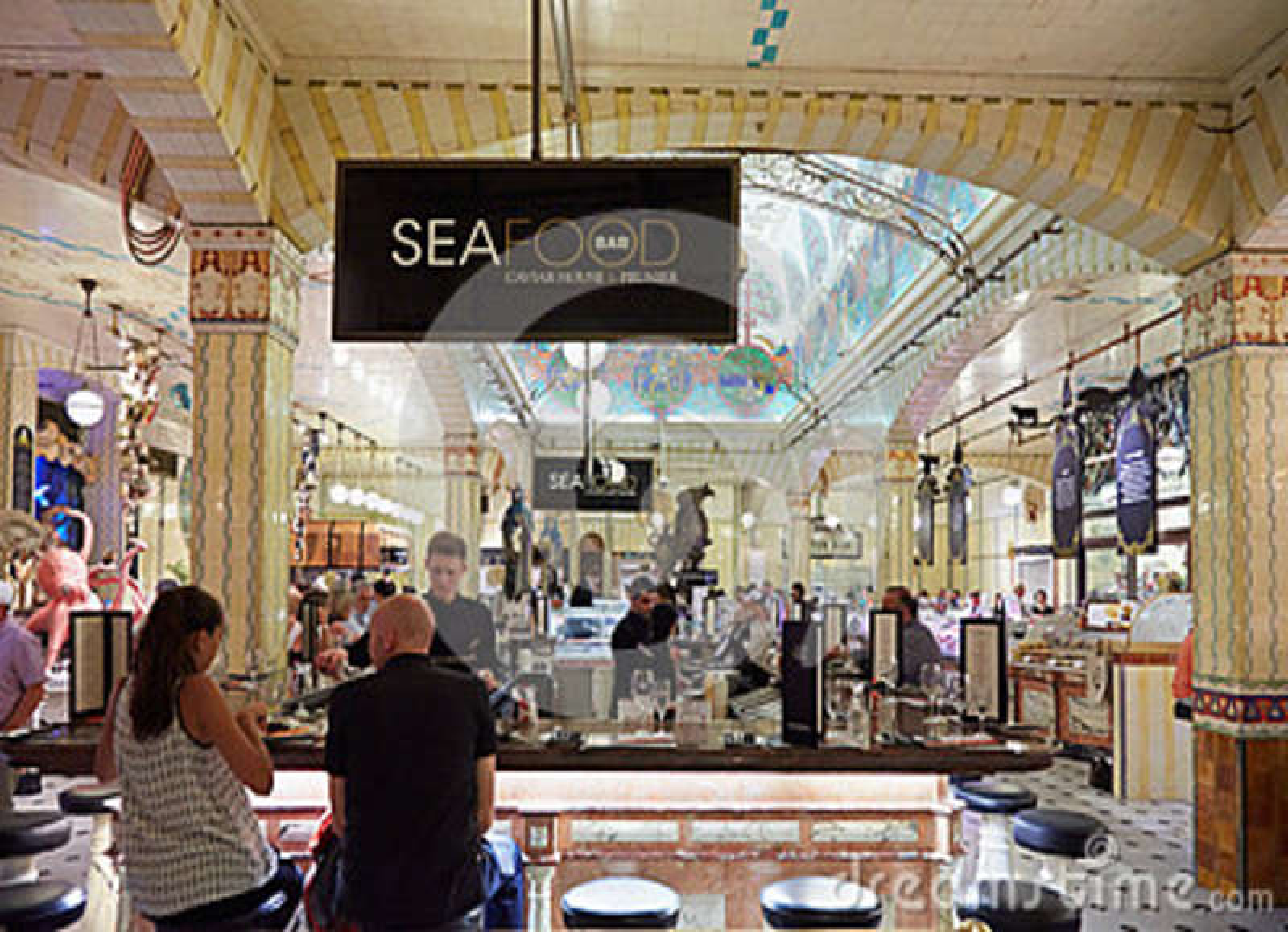 harrods department store interior sea food area