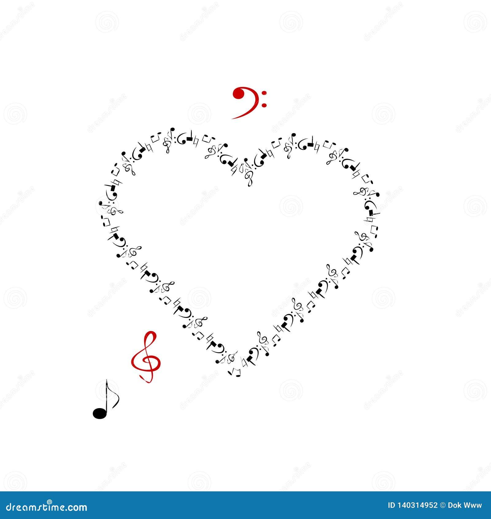 Hart in de vorm van muziek en muzikale tekens