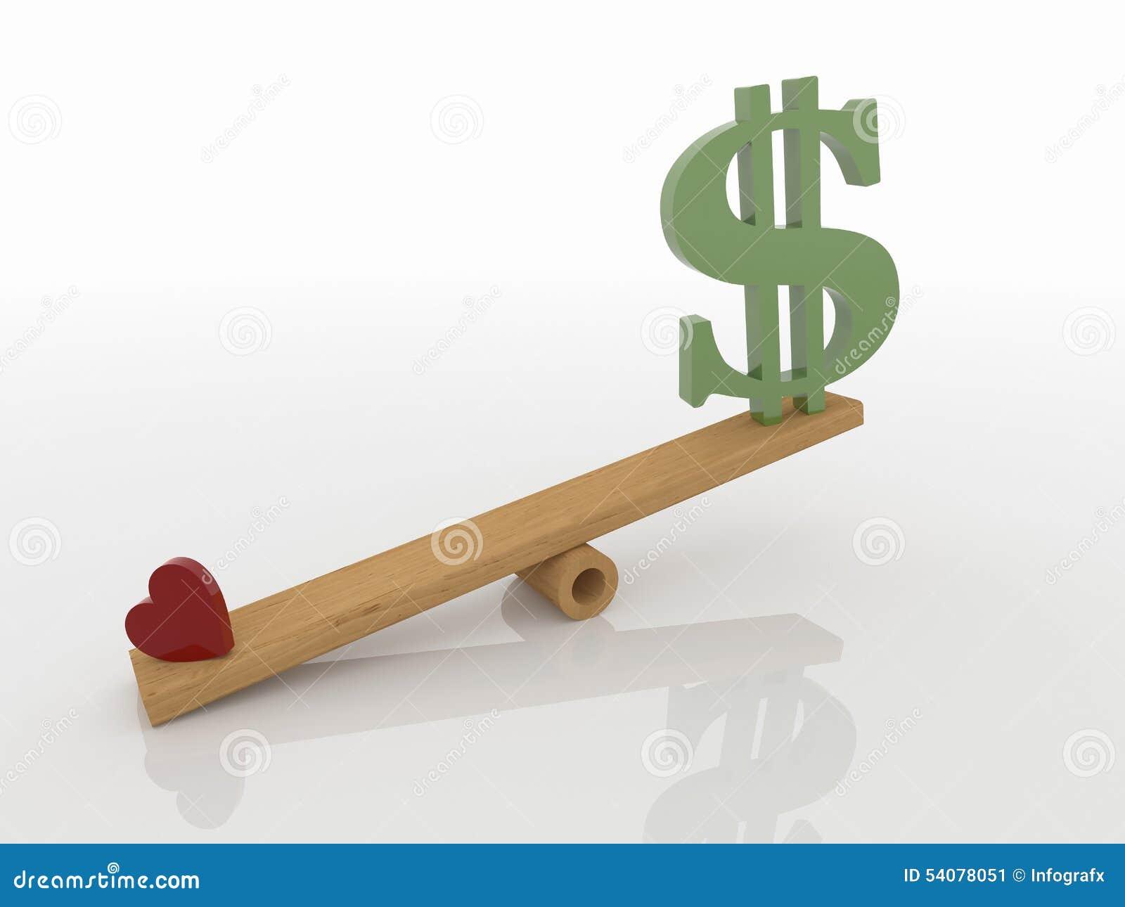Hart en Geld op Geschommel, Liefdeconcept