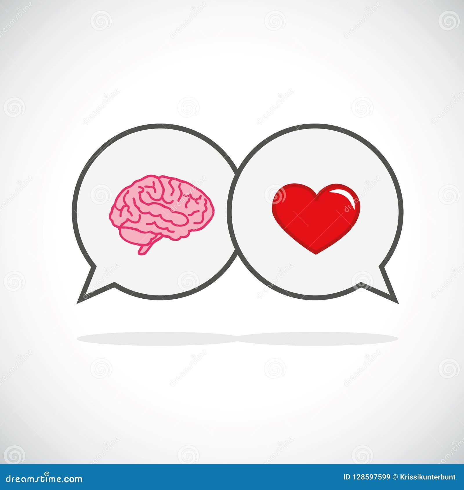 Hart en hersenenconceptenconflict tussen emoties en het rationele denken