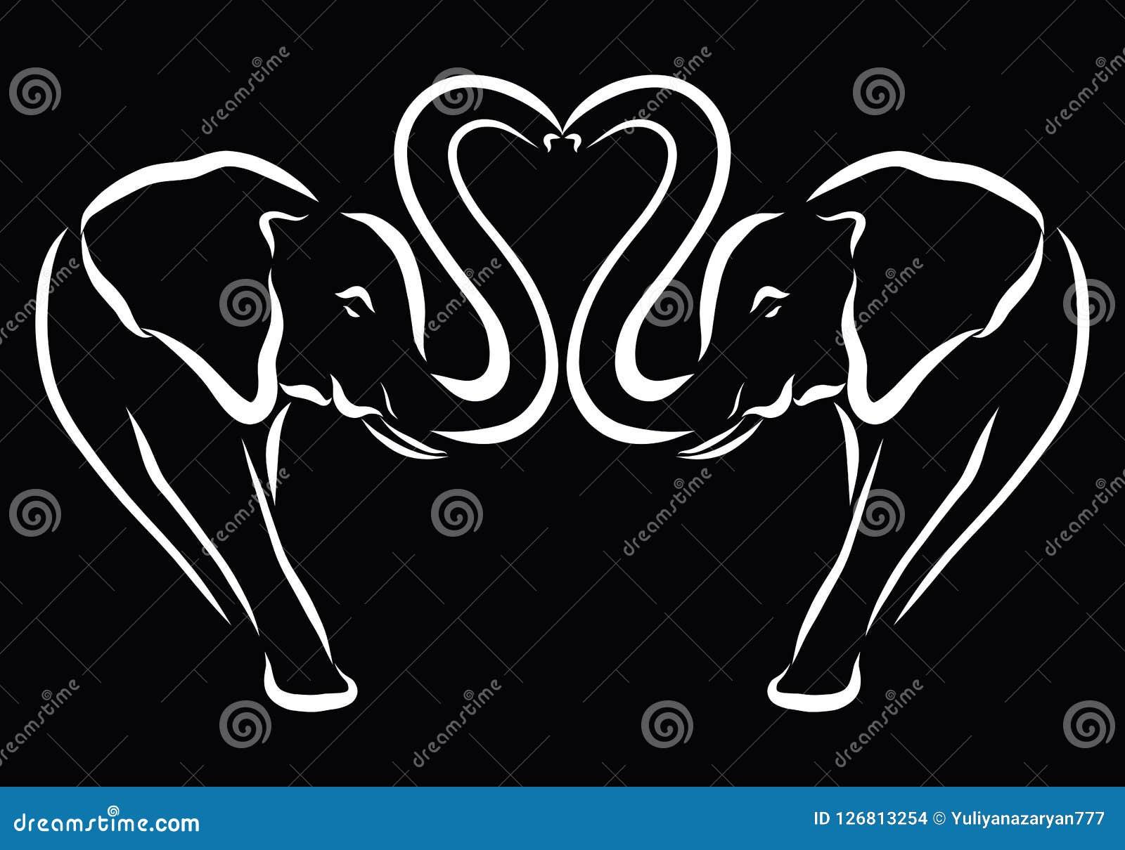 Hart en romantische olifanten, witte schets op een zwarte achtergrond Vector Illustratie