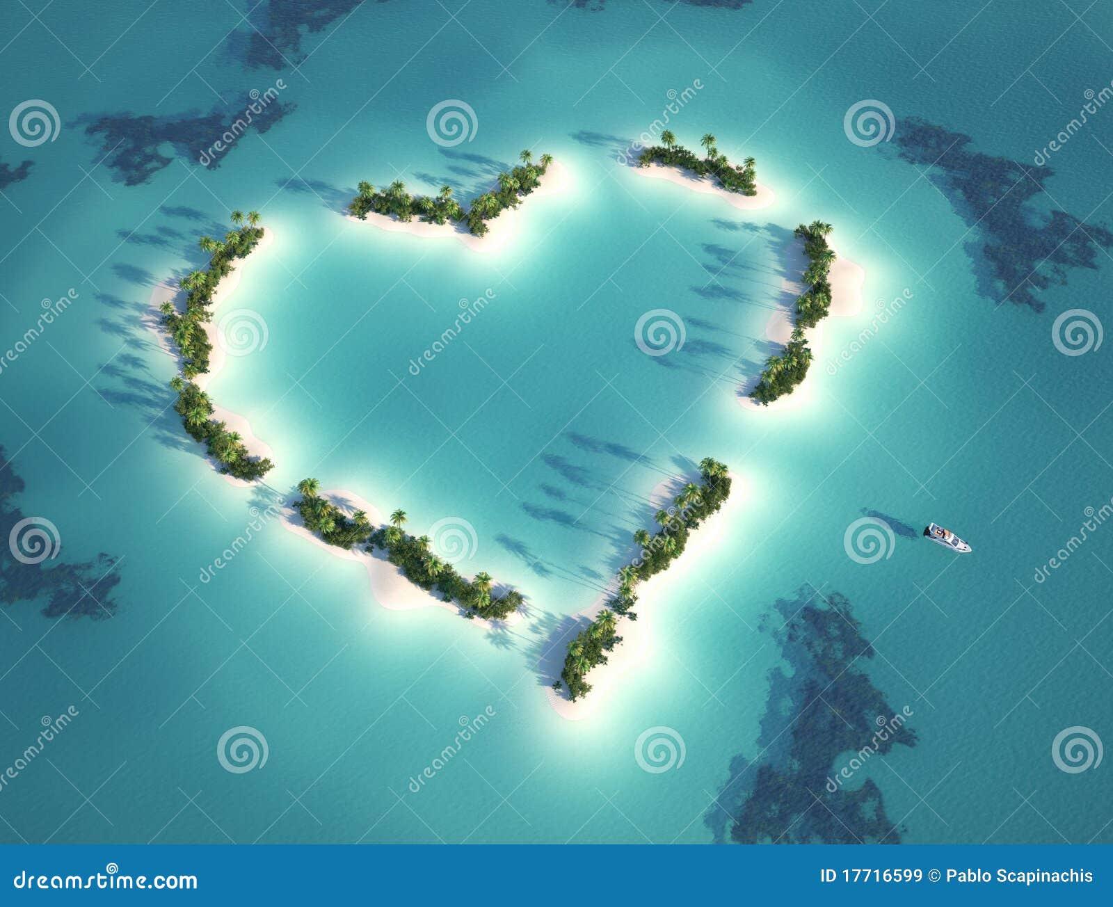 Hart gevormd eiland