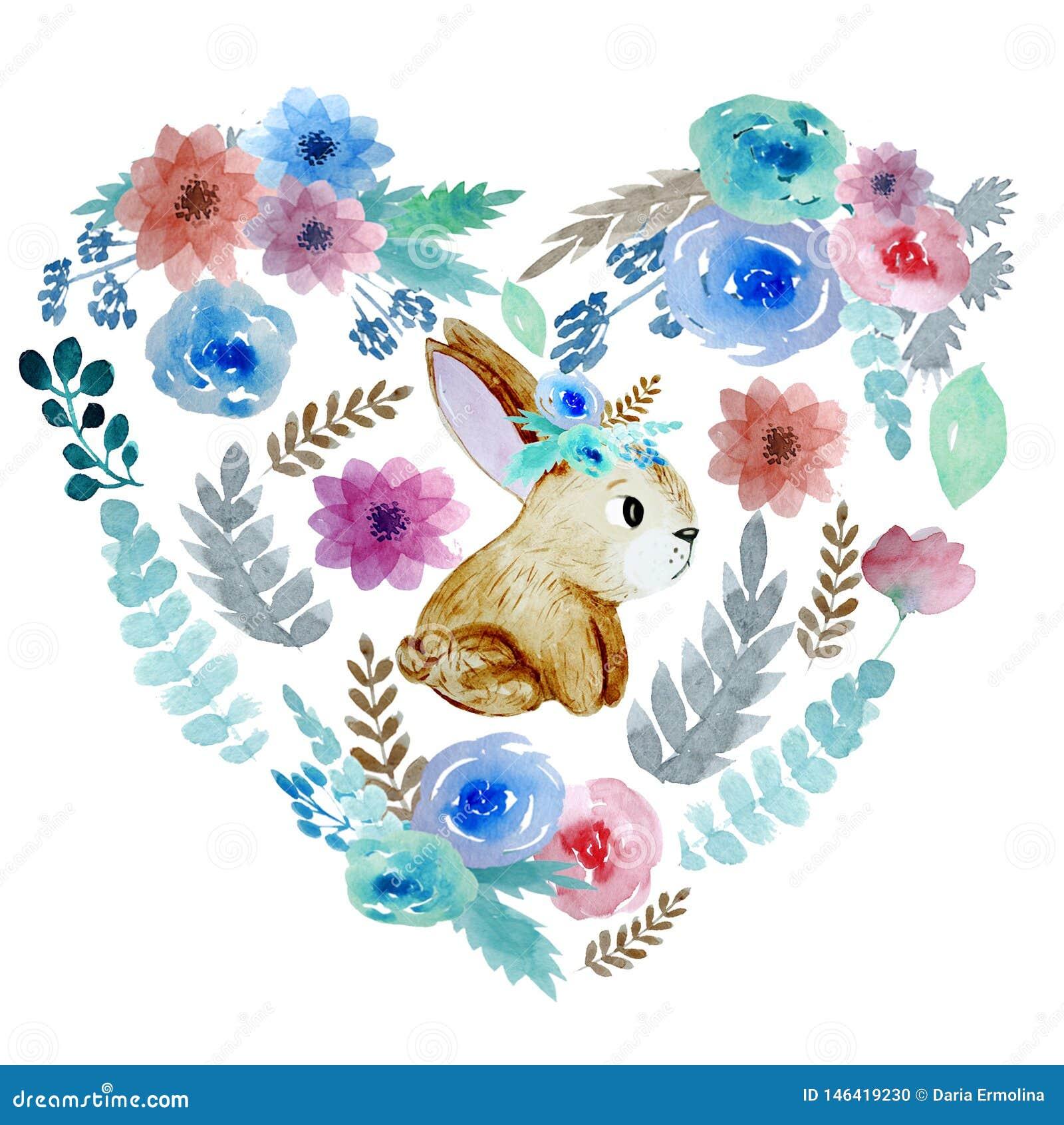 Hart met bloemen en konijn