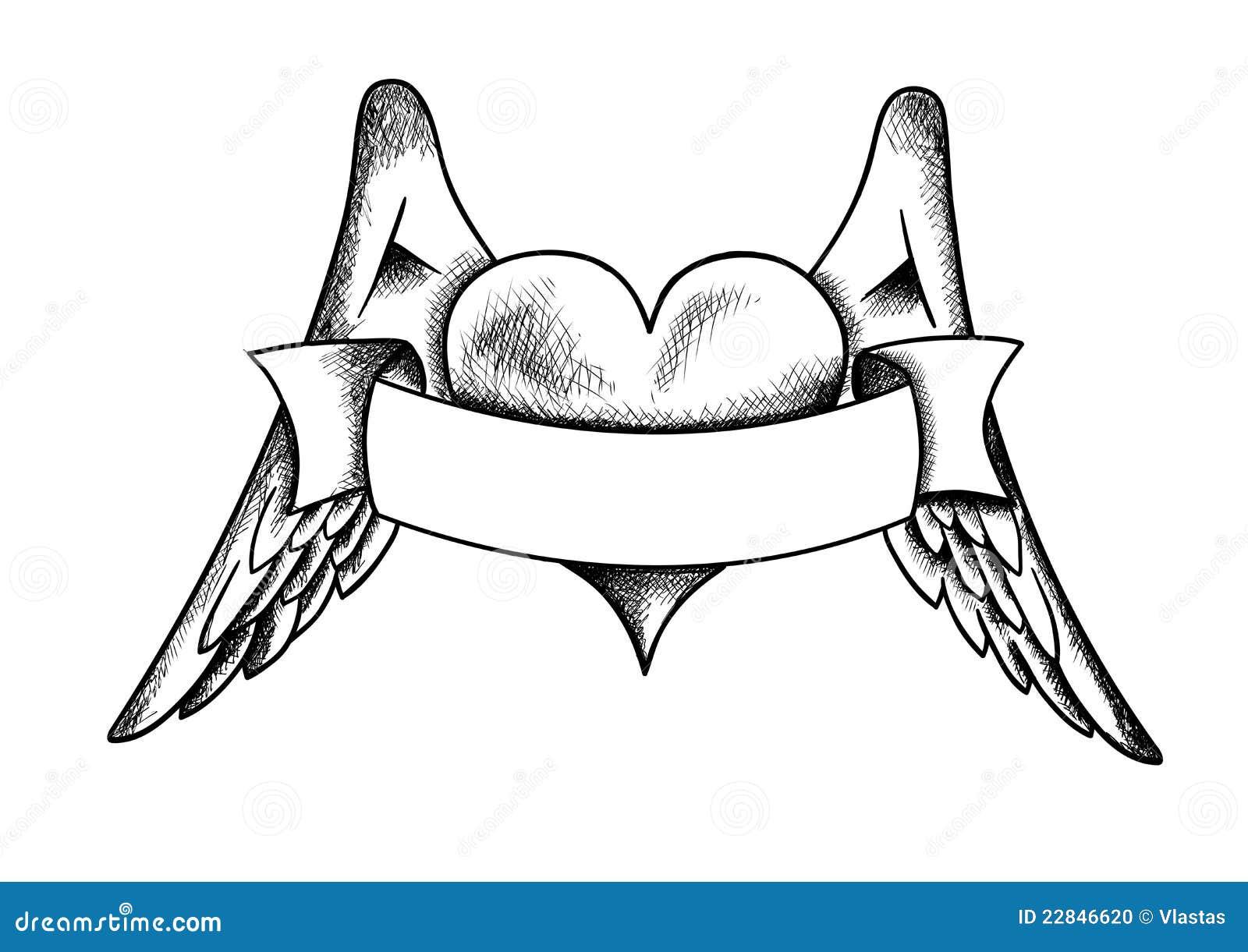 hart met de vleugels stock foto afbeelding 22846620