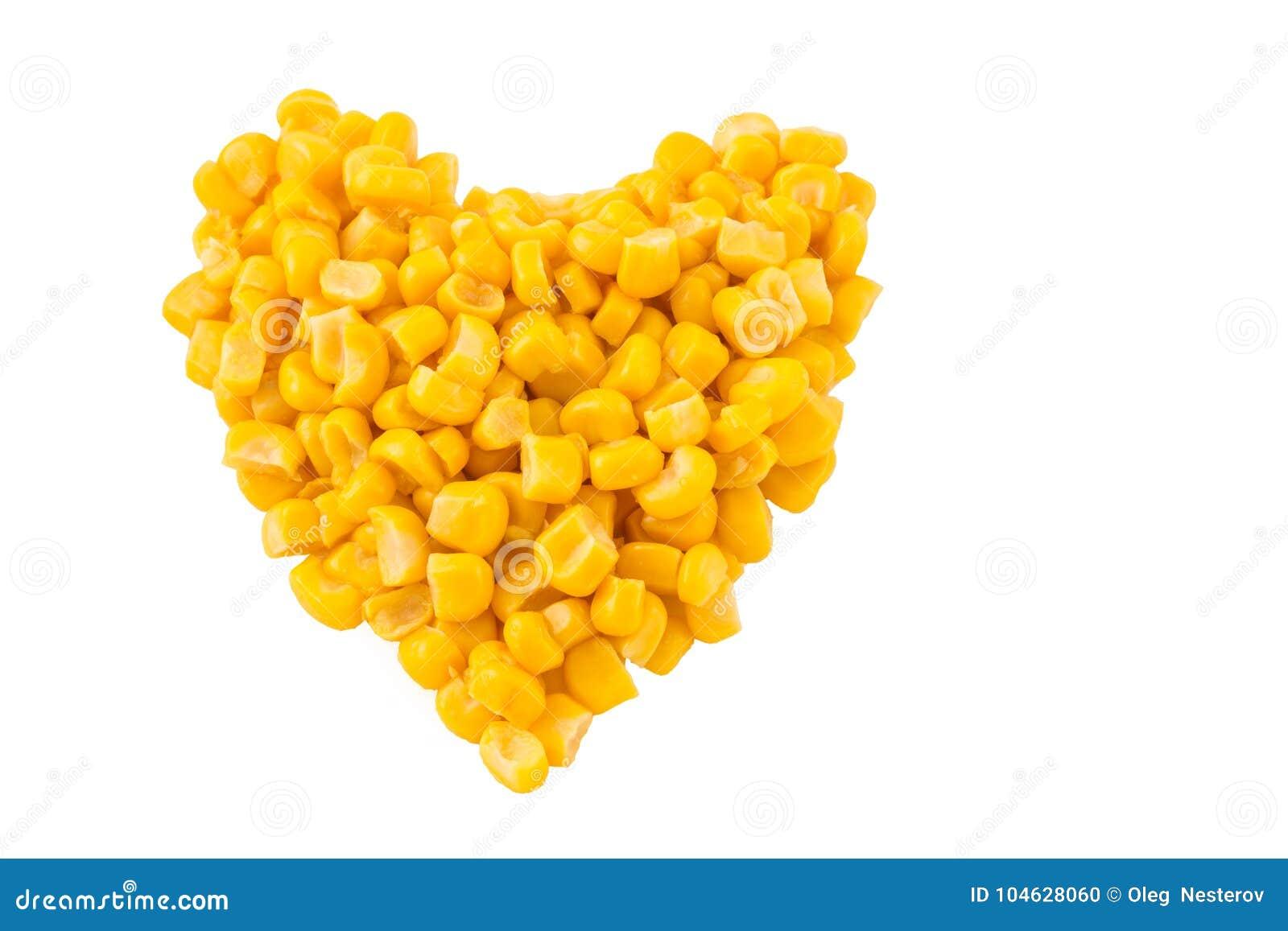 Download Hart Met Ingeblikt Graan Op Witte Achtergrond Wordt Gevoerd Die Stock Foto - Afbeelding bestaande uit hart, smakelijk: 104628060