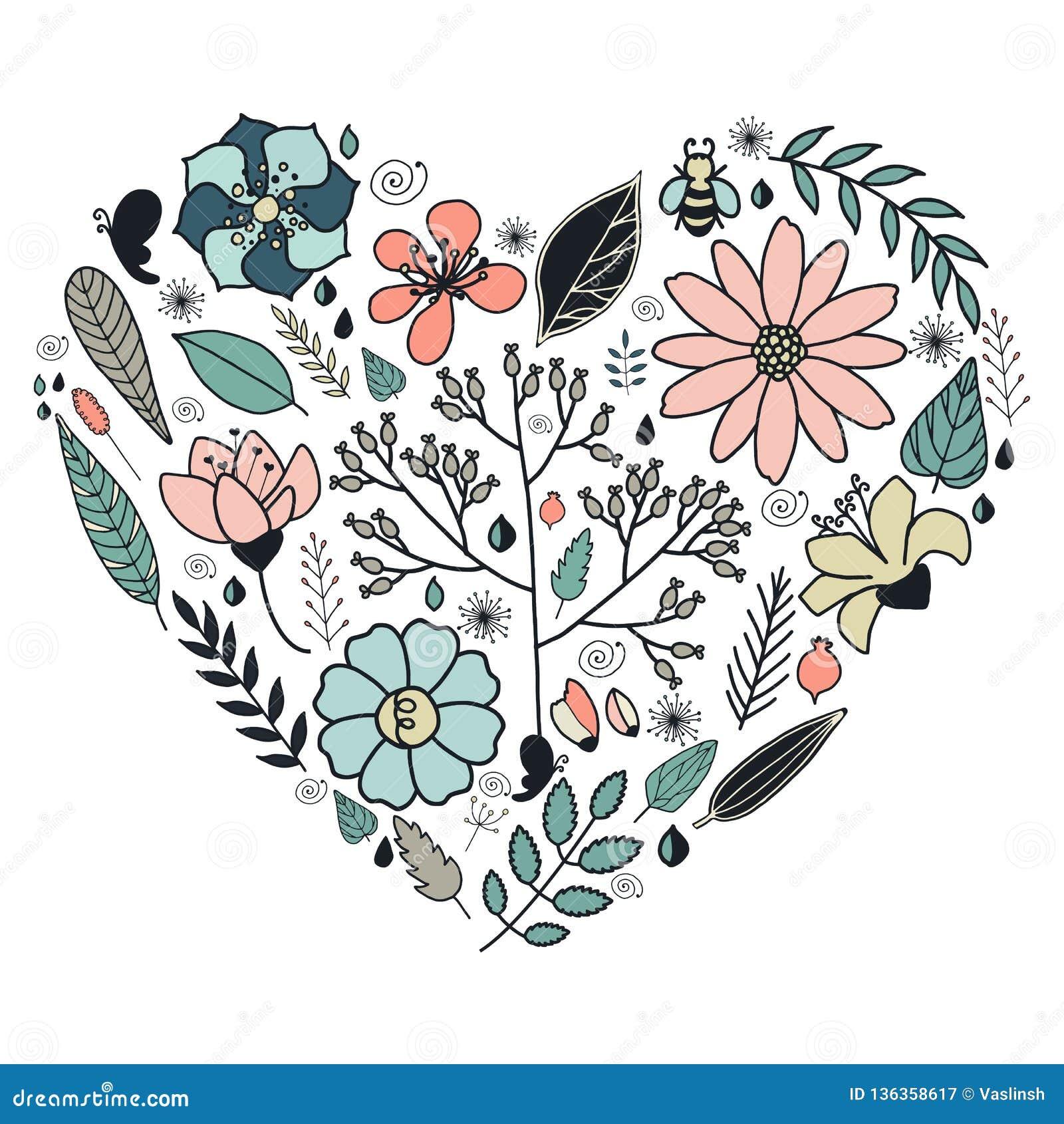Hart van bloemen in vector wordt gemaakt die