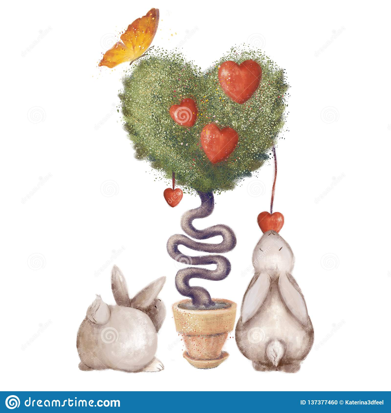 Hart-vormige boom met bladeren en een vlinder Leuke konijnen Enige die illustratie op witte achtergrond wordt geïsoleerd Liefde