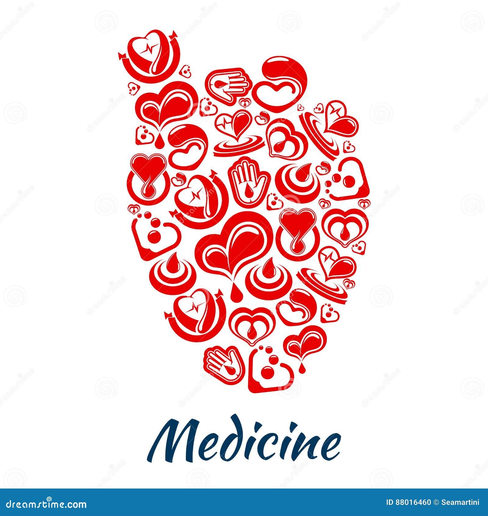 Hartaffiche van cardiologie en bloed vectorpunten