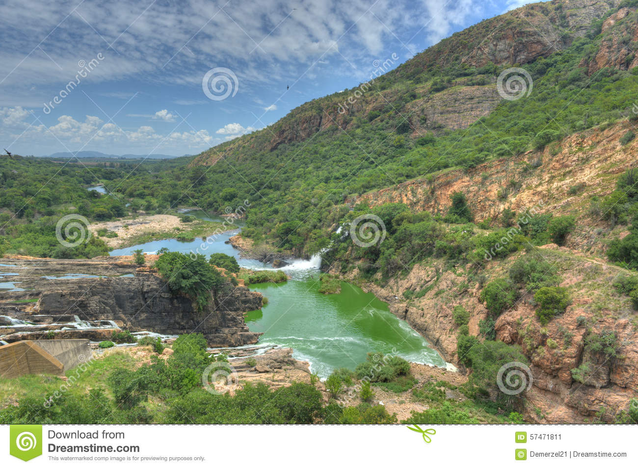 Hartbeespoort South Africa  City new picture : Waterfall of Crocodile River Hartbeespoort Dam in South Africa.