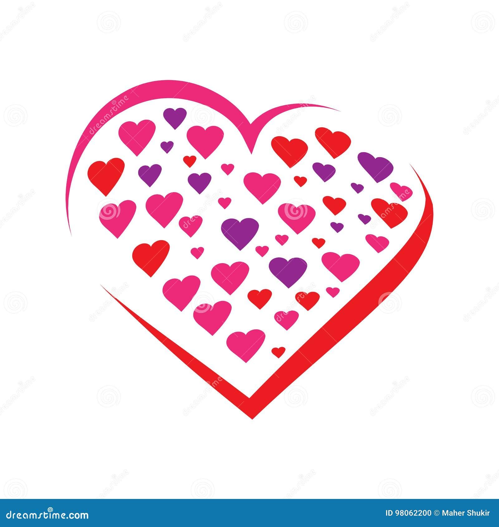 Harten binnen een hartpictogram