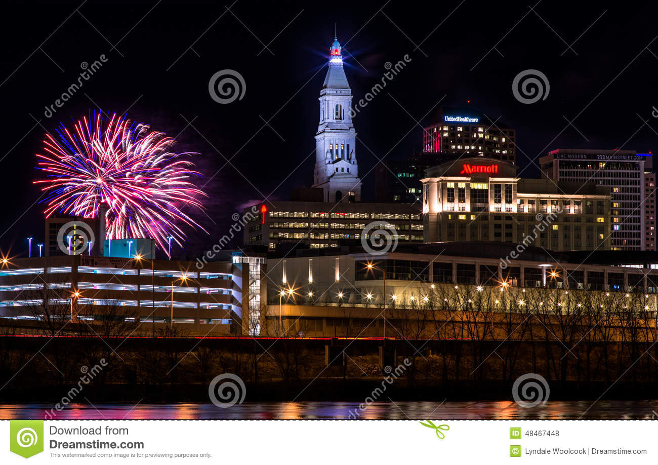 Hartford Connecticut New Year Fireworks Editorial Stock Photo