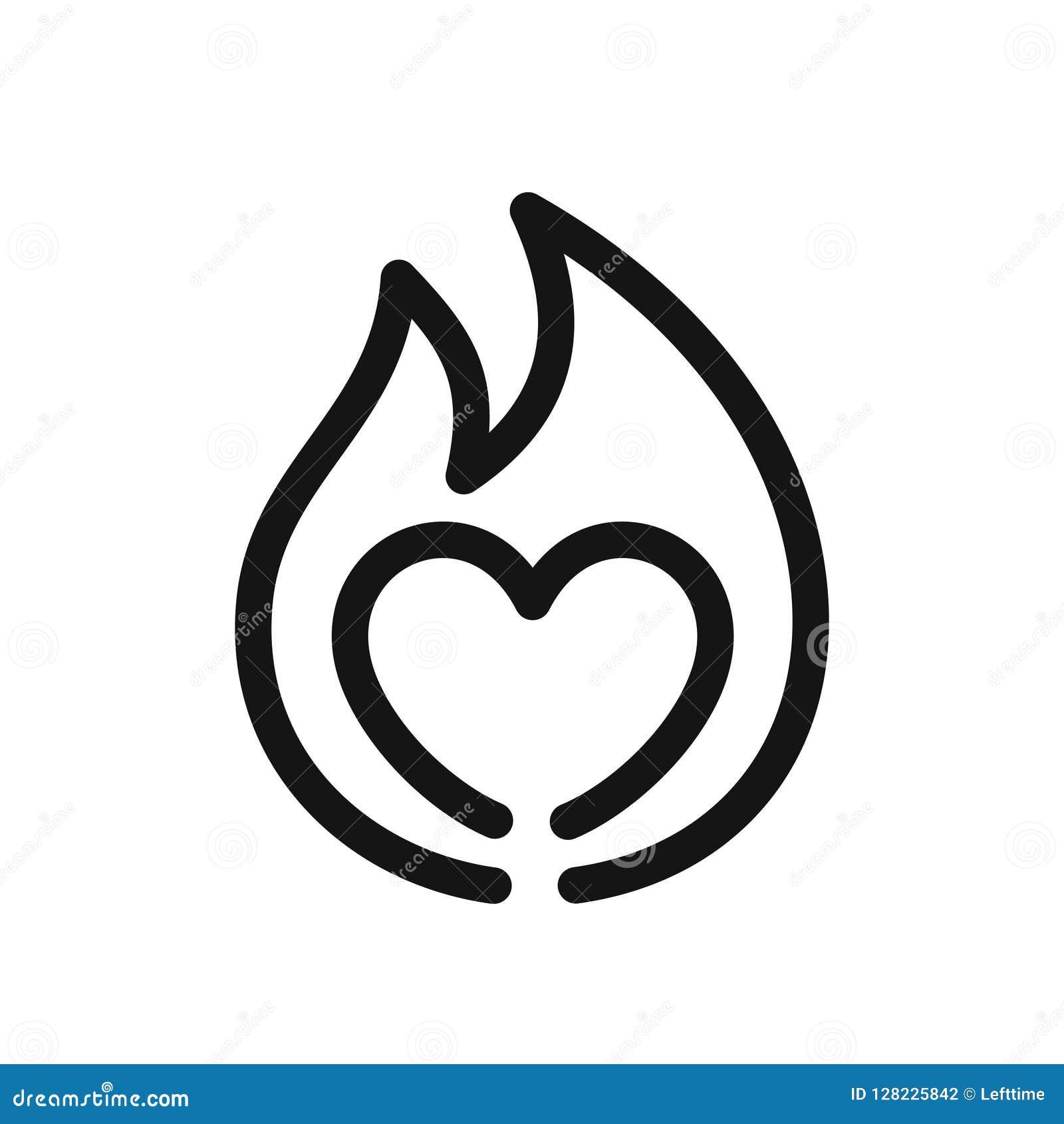Hartteken op brand, symbool van hartstocht, het eenvoudige zwarte pictogram van de lijnstijl