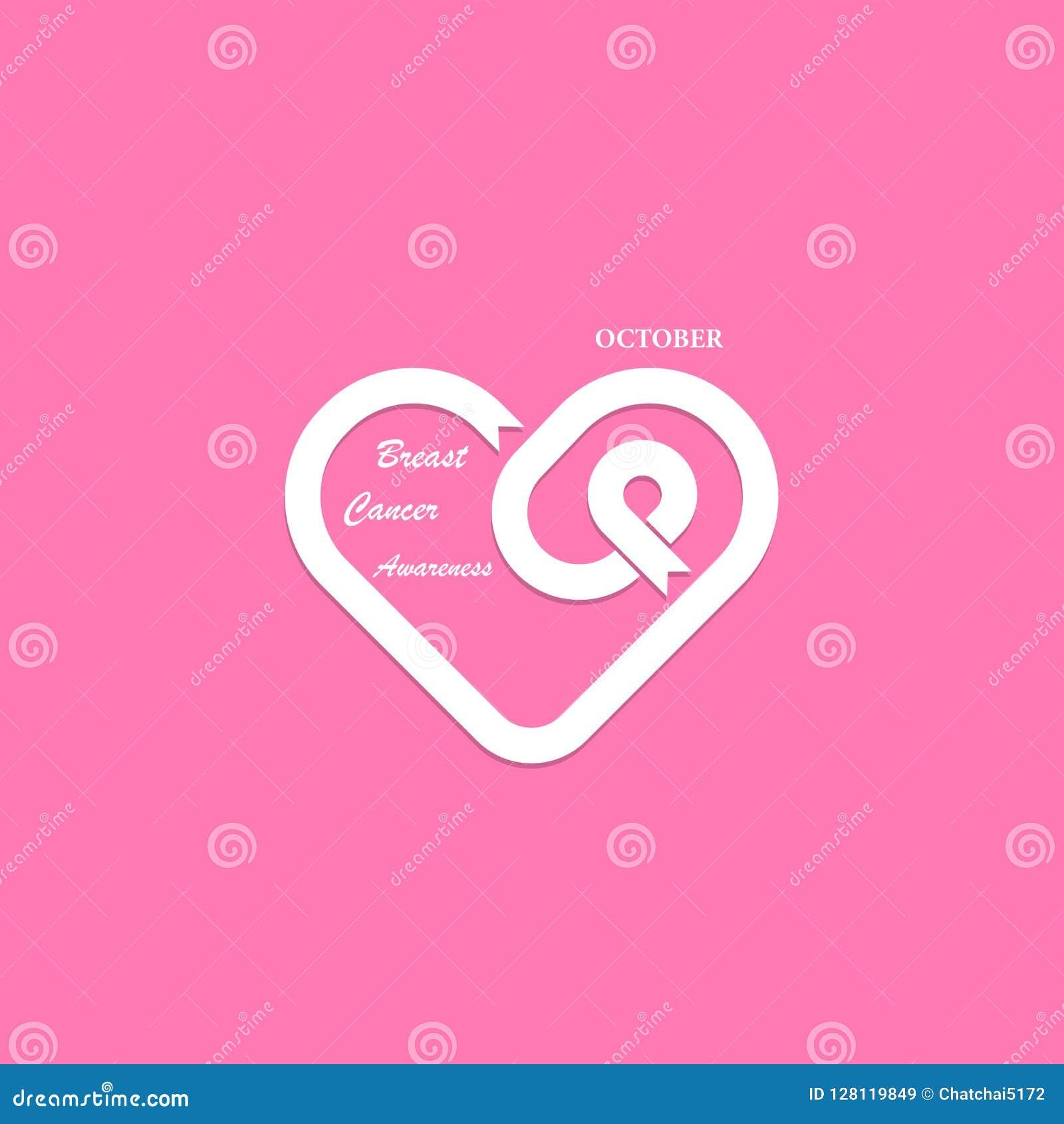 Hartvorm & Roze Lintpictogram De Voorlichting M van Oktober van borstkanker