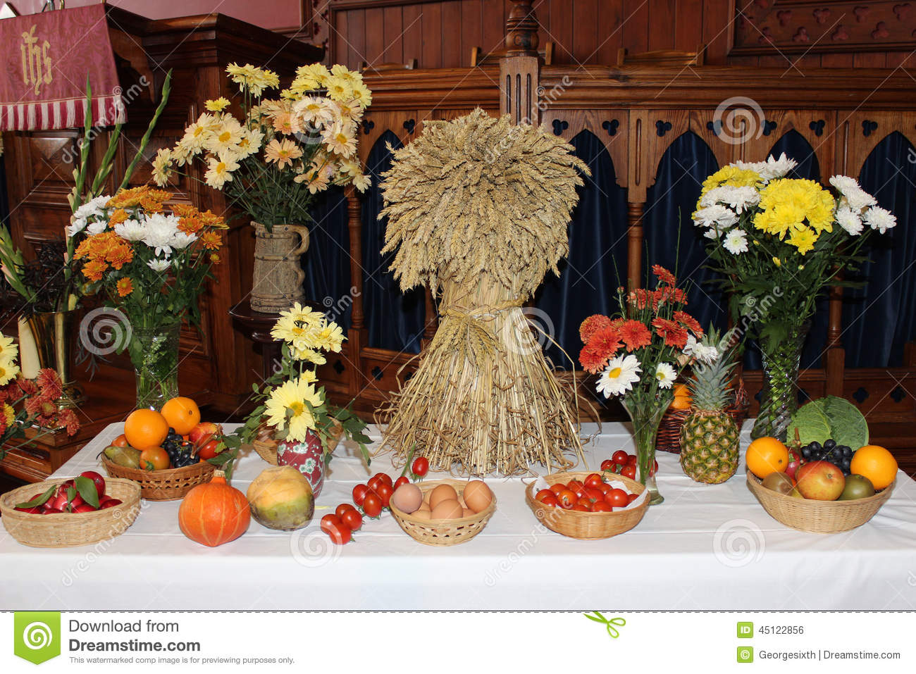 Decorating Ideas > Harvest Festival Display With Sheaf Of Corn Stock Photo  ~ 075812_Thanksgiving Village Decorations