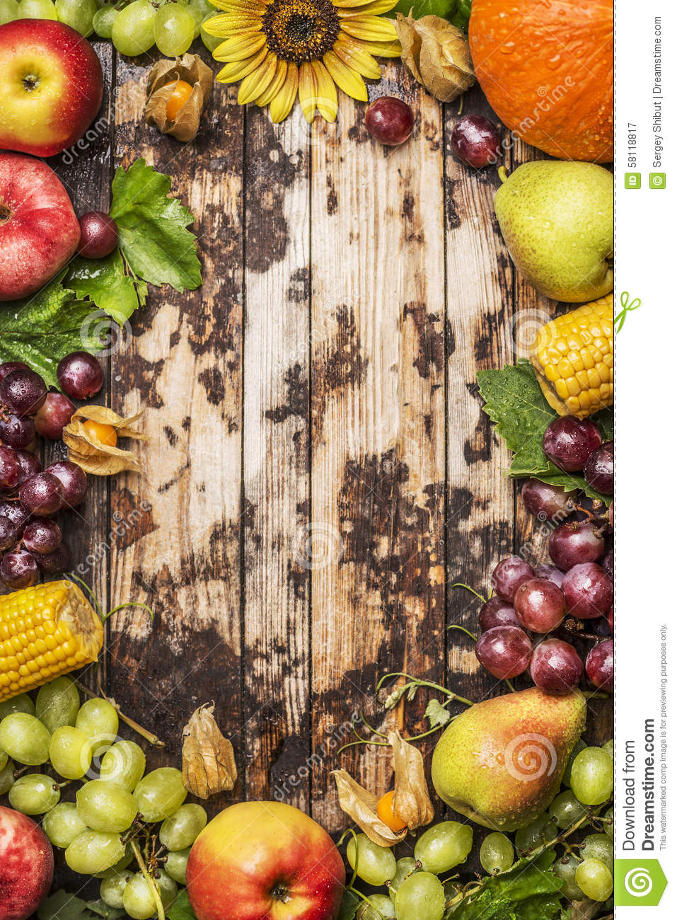 Harvest Fruits Berries And Vegetables With Sunflower On A