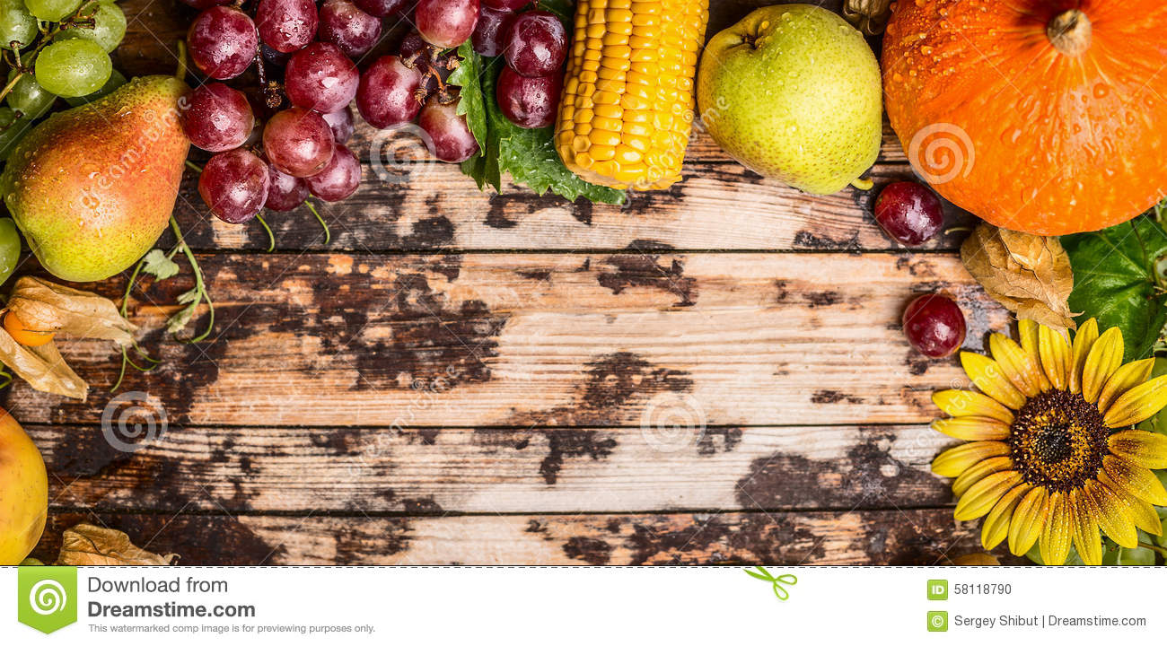 Harvest fruits with grapes,pumkin and sunflowers on a rustic wooden background, banner for website