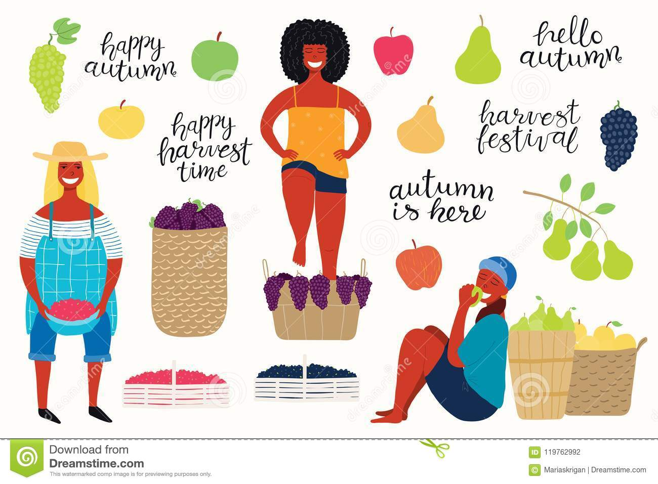 Harvest Set With Girls Quotes Berries Fruits Stock Vector