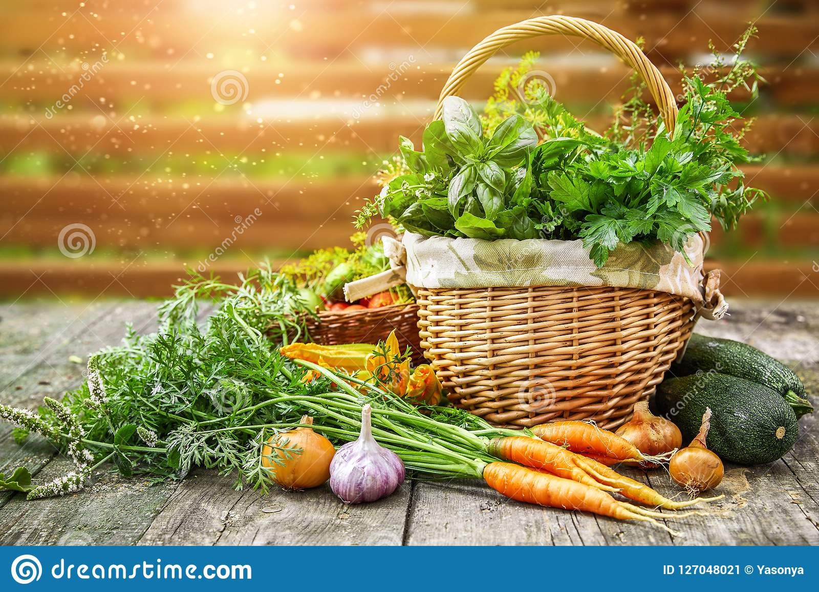 Harvest vegetables with herbs and spices
