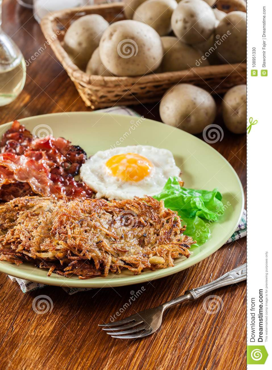 hash browns potato pancakes with crispy fried bacon and fried egg