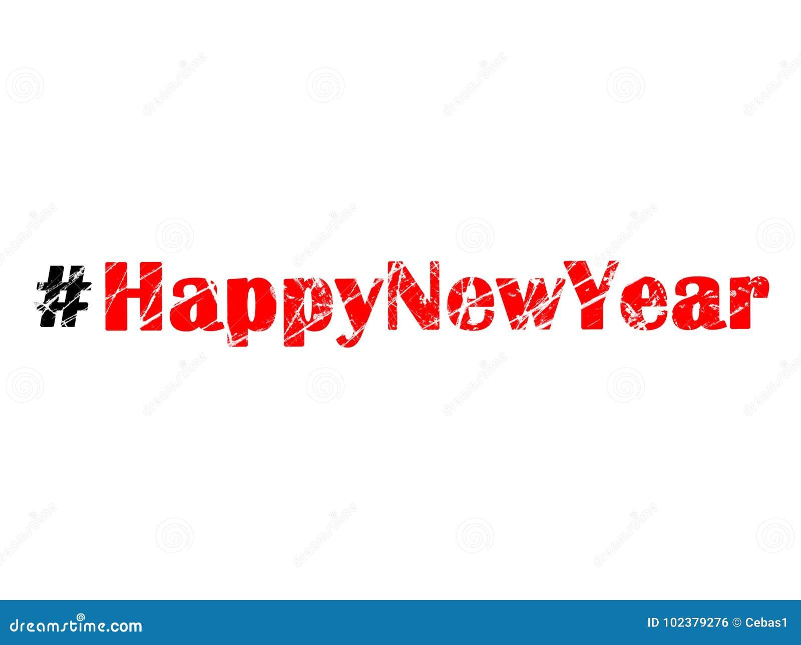 hashtag happy new year on white background