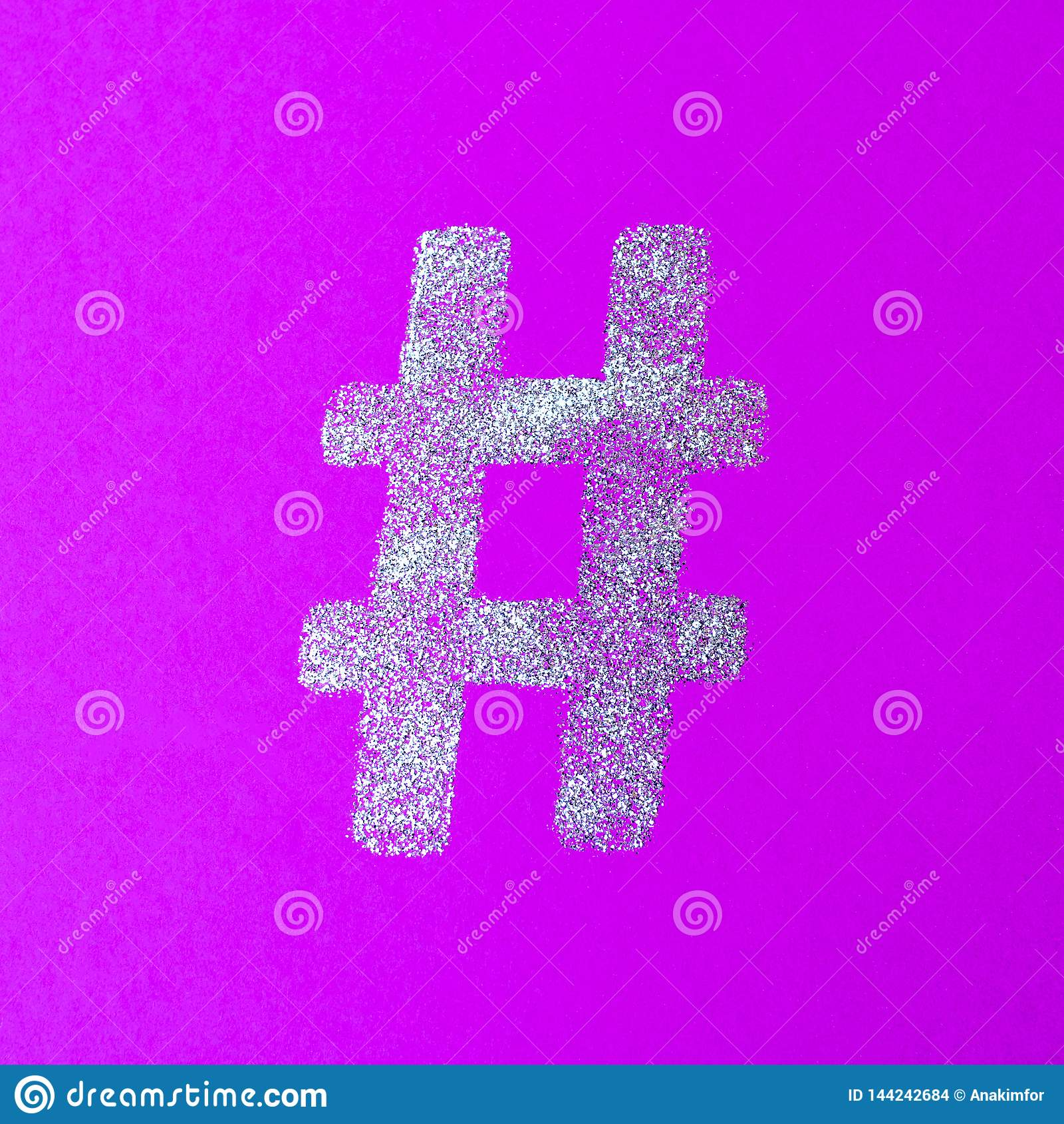 Hashtag sign. Silver hashtag symbol